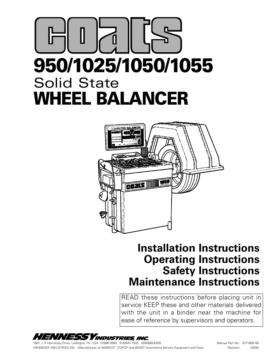Coats 1055 Balancer User Manual