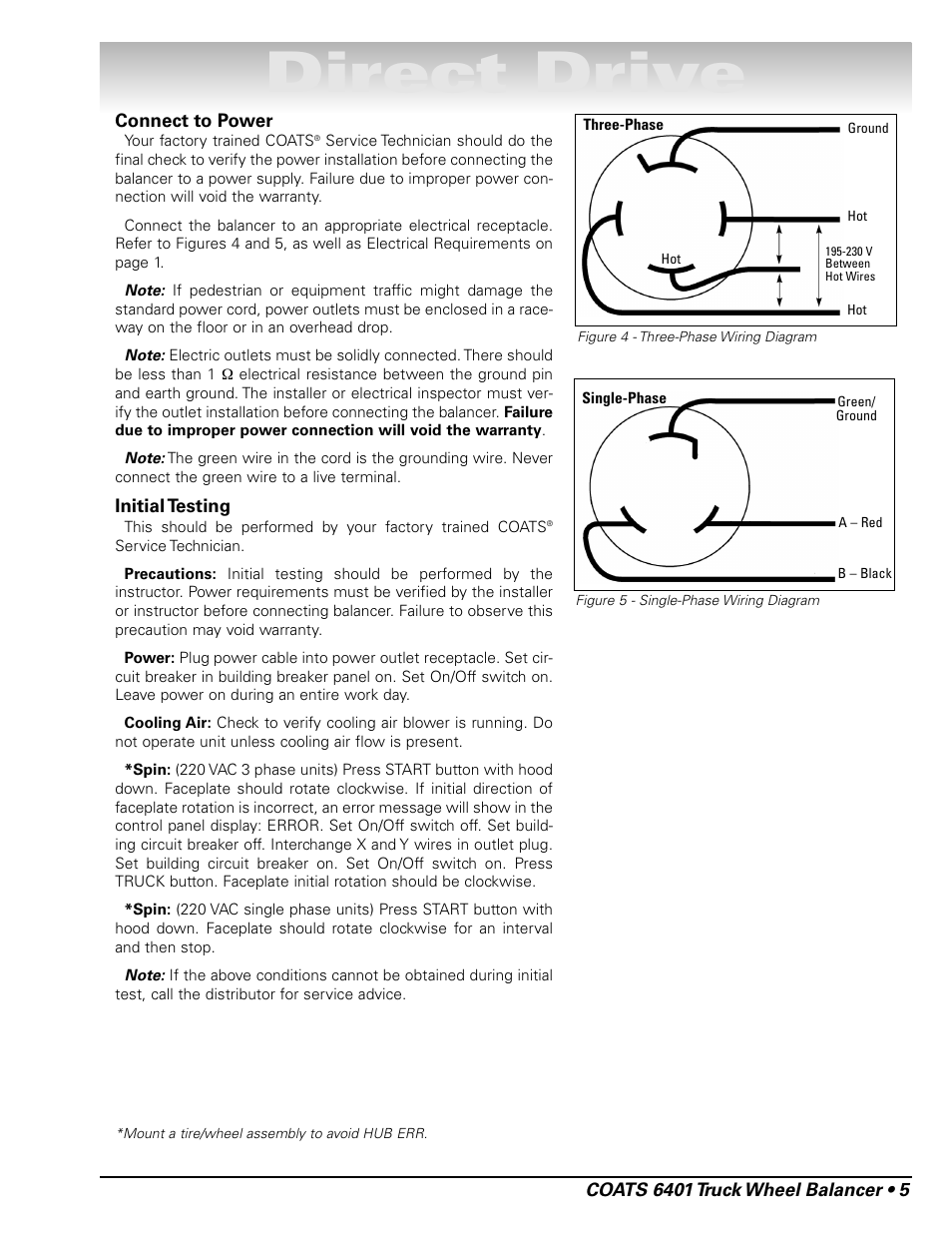Direct Drive Coats 6401 Computer Truck Wheel Balancer User Manual 220 Vac Wiring Page 11 24