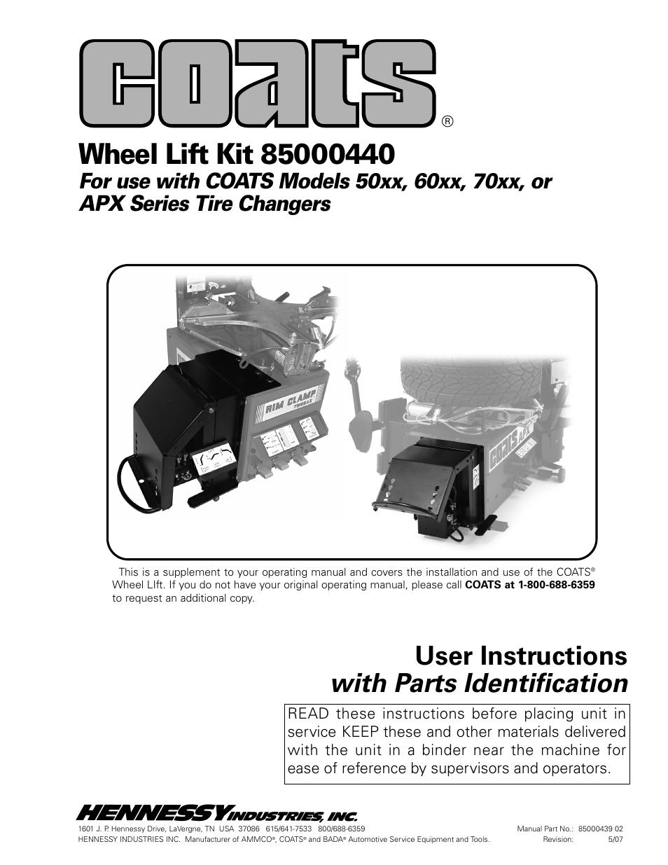 coats kit 85000440 lift accessory user manual 8 pages rh manualsdir com Coats Ammco Equipment Distributors Ammco Tire Changers