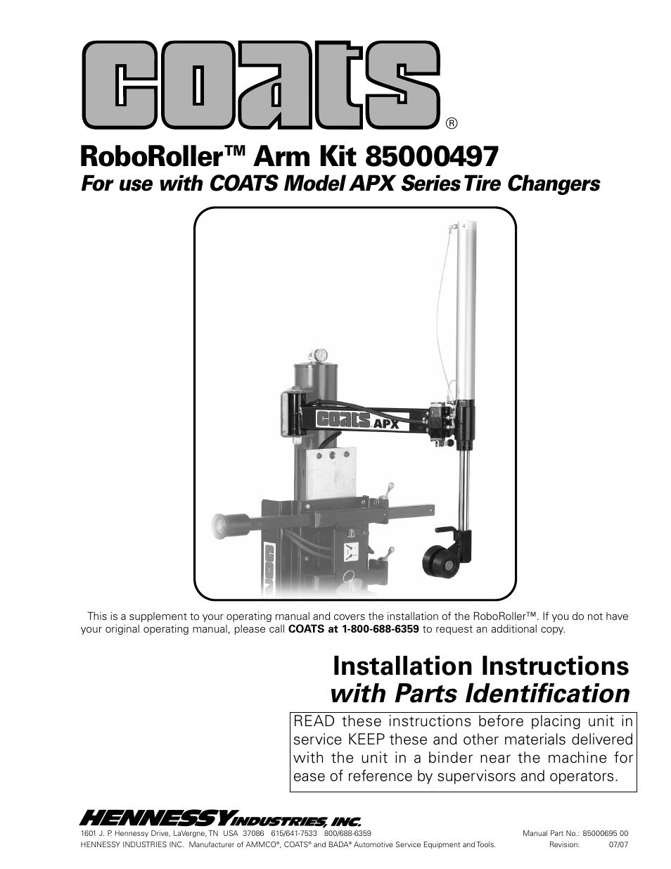 coats kit 85000497 roboroller arm user manual 4 pages rh manualsdir com Ammco Model 4000 Ammco Tools Inc