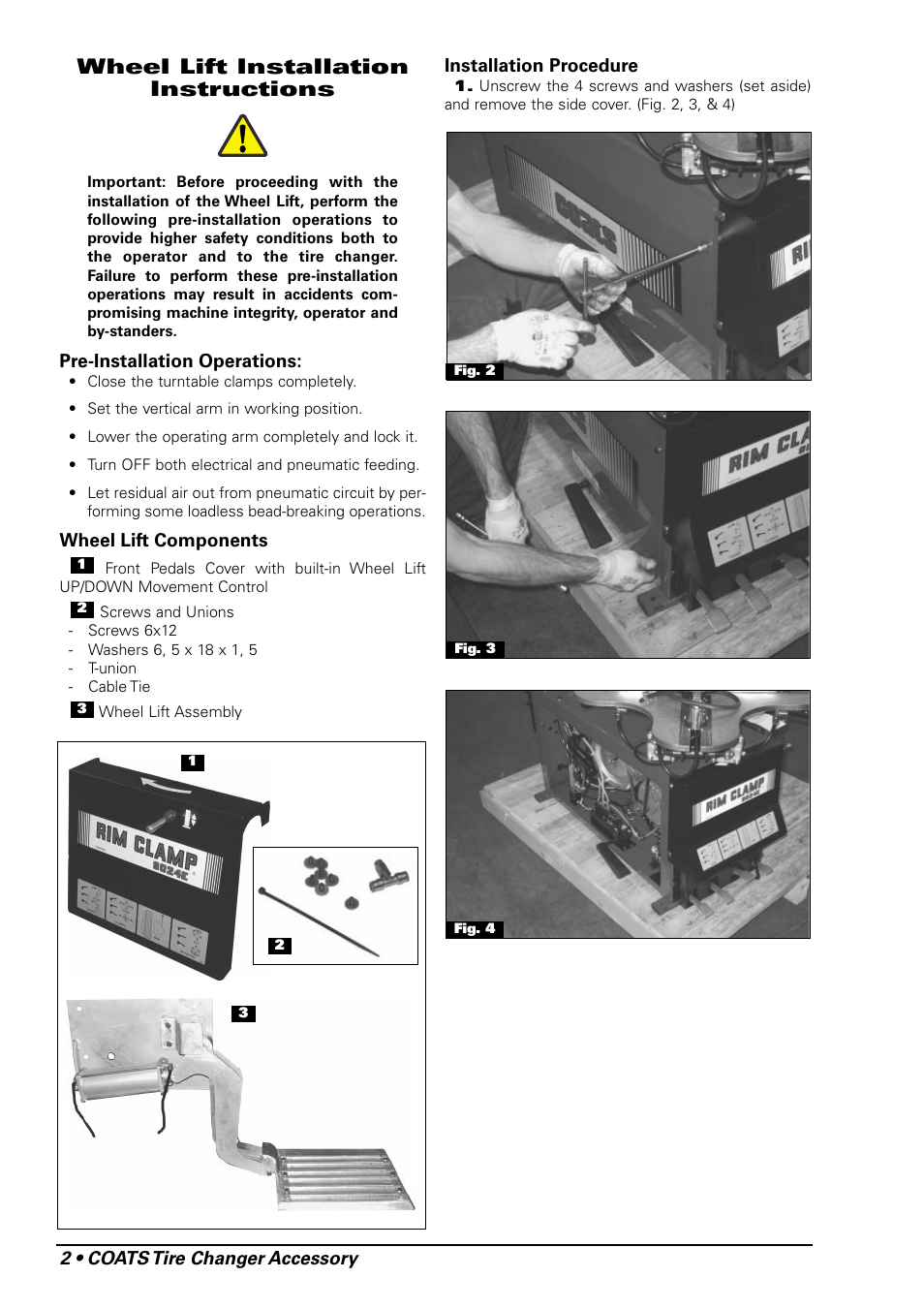 Wheel lift installation instructions | COATS Wheel Lift for use with 9024E  Rim Clamp Tire Changer User Manual | Page 2 / 8