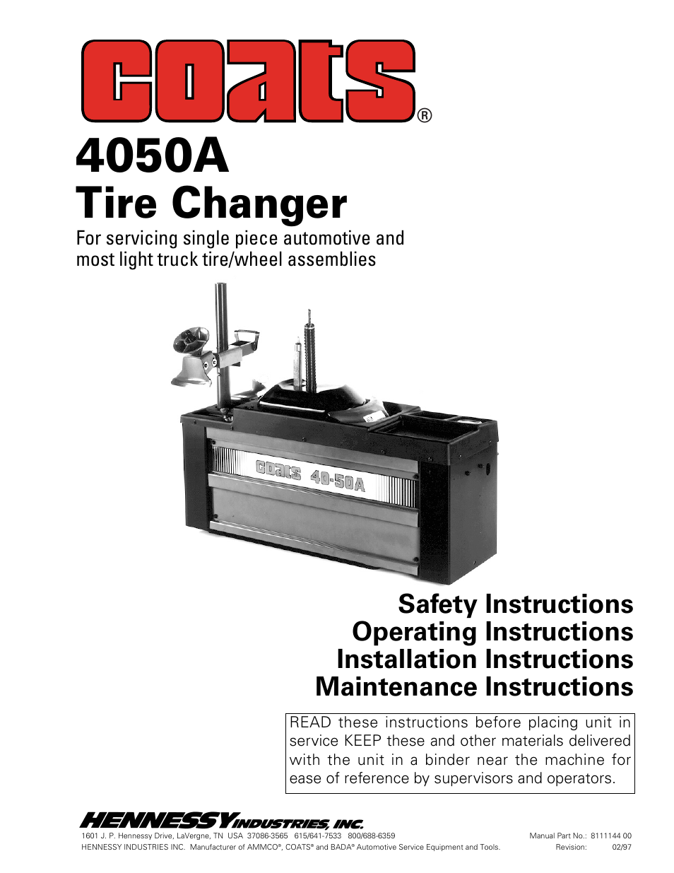 coats 4050a tire changer user manual 16 pages rh manualsdir com Ammco Tire Changers Ammco Model 4000