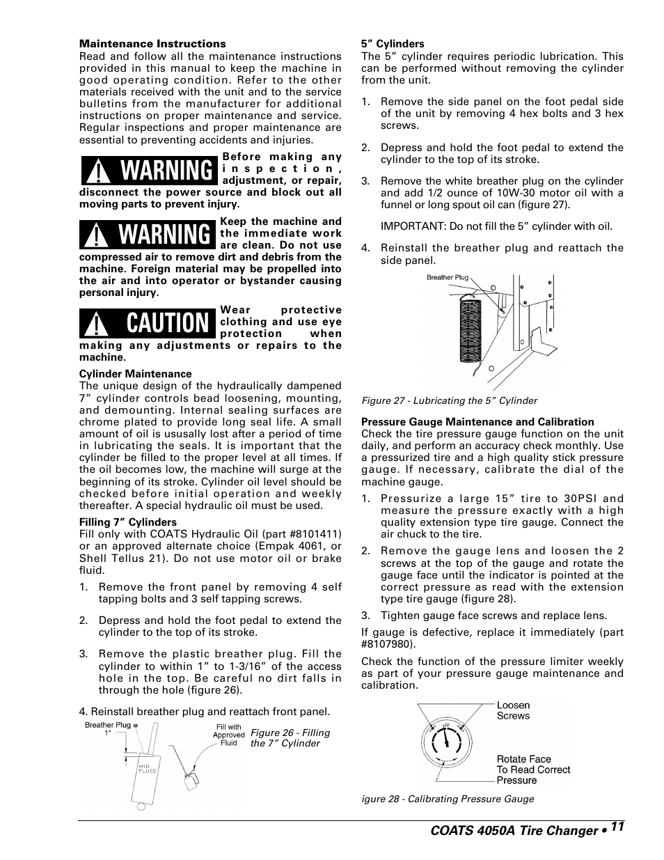 Warning, Caution | COATS 4050A Tire Changer User Manual | Page 13 / 16