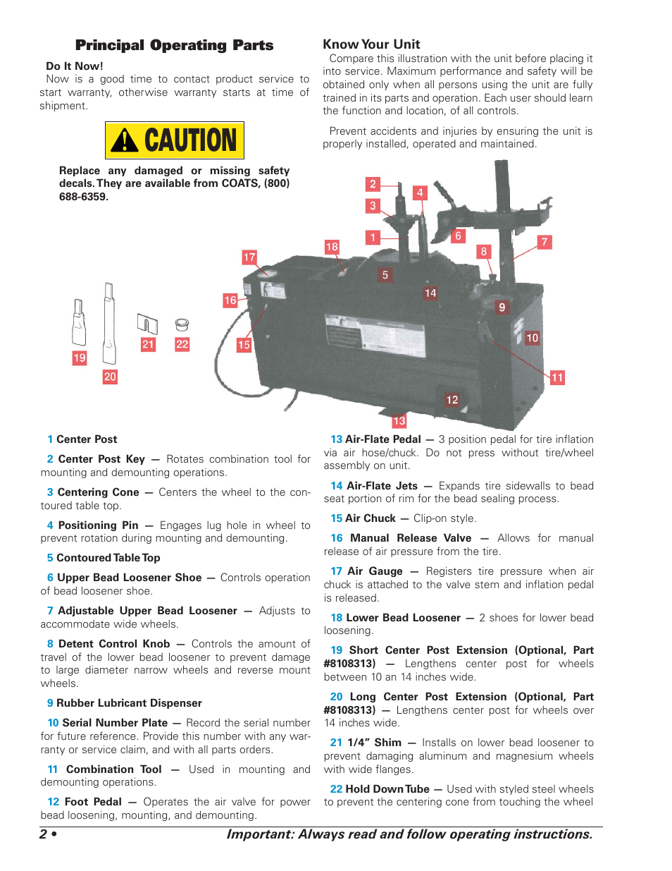 caution principal operating parts coats  tire changer user manual page