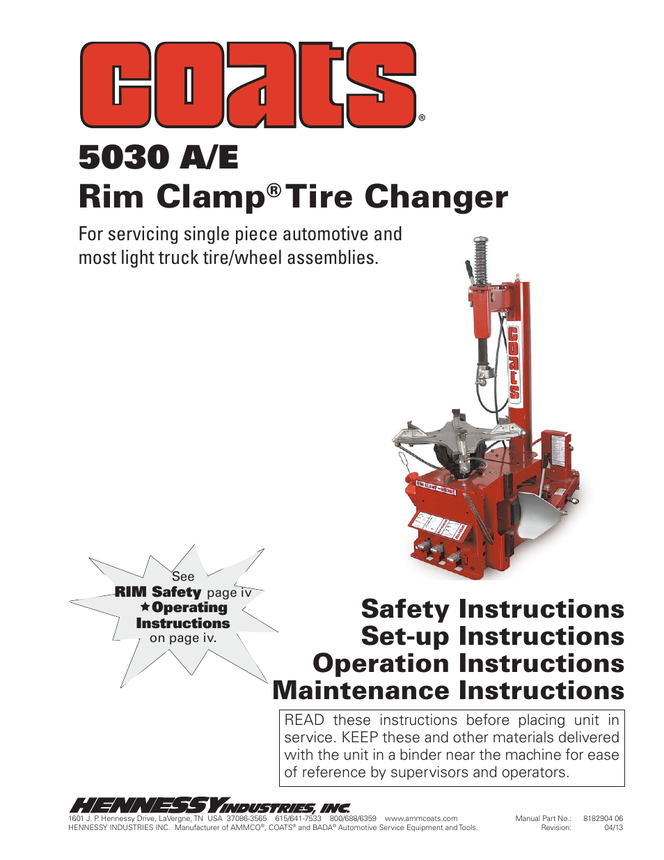 coats 5030 a e tire changer user manual 24 pages rh manualsdir com Coats Ammco Equipment Distributors Ammco Lift