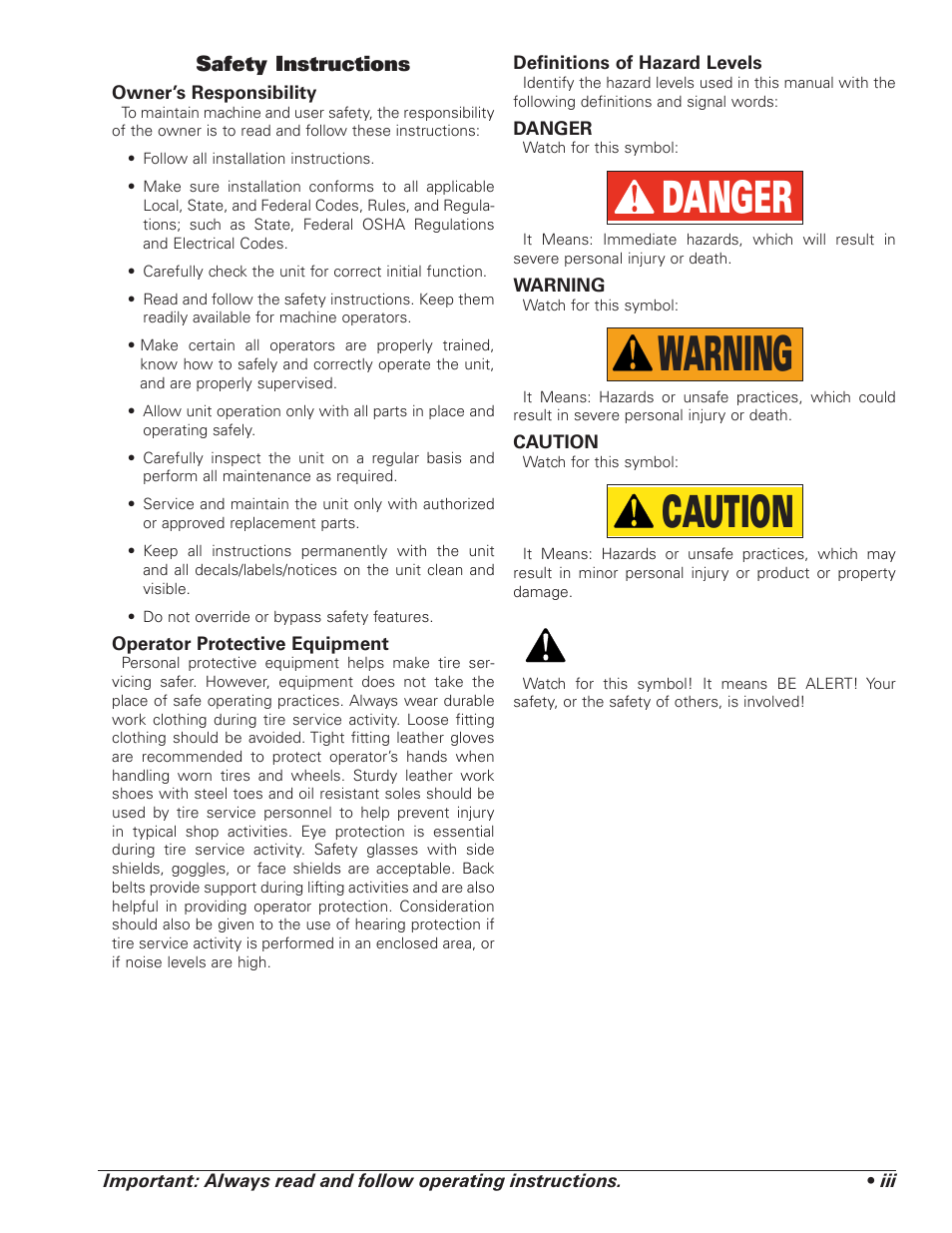 Warning danger caution coats 5030 ae tire changer user manual warning danger caution coats 5030 ae tire changer user manual page 3 24 buycottarizona Choice Image