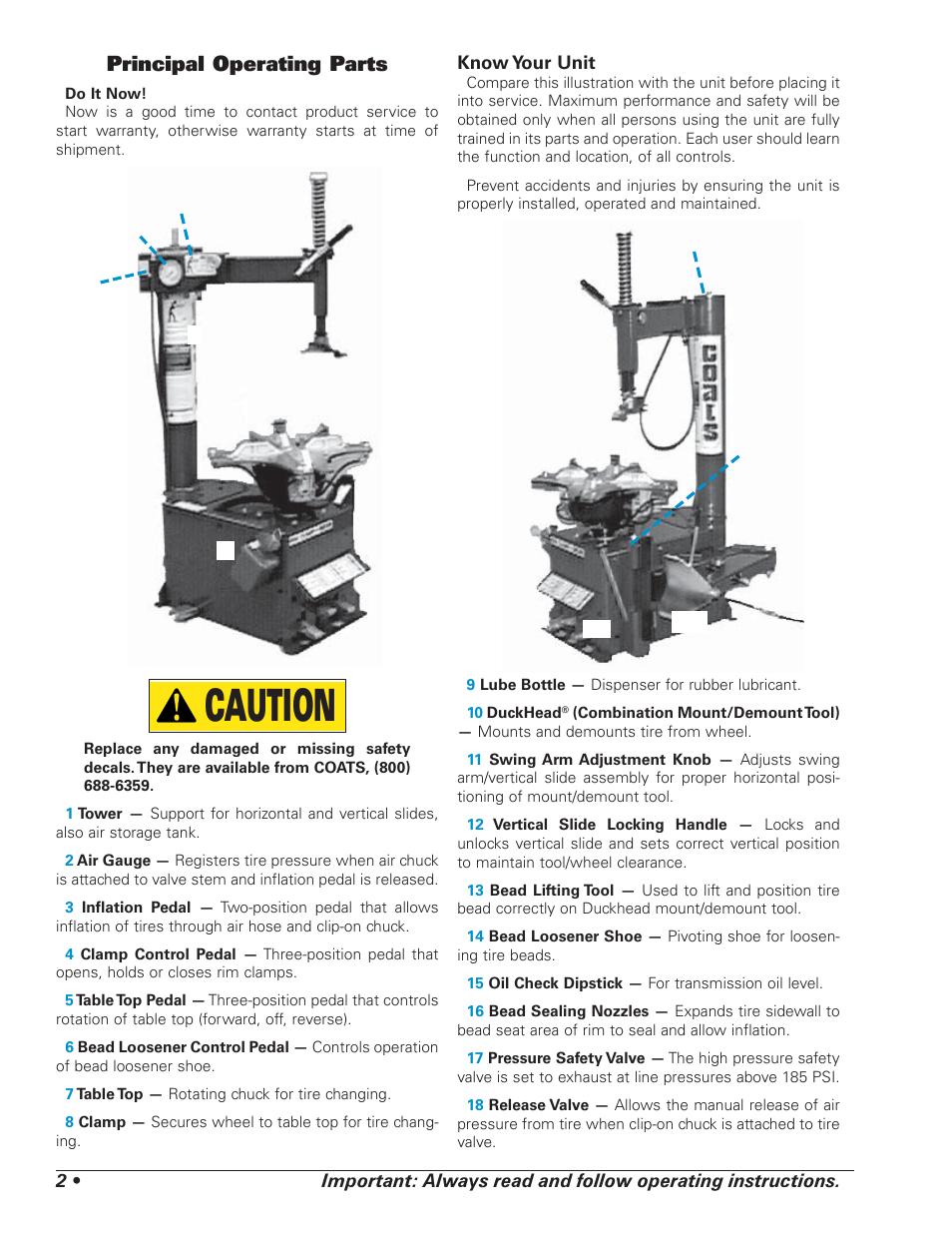 caution principal operating parts coats 5030 a e tire changer rh manualsdir com Atlas Tire Changer Manual manual tire changer instruction manuals ch22