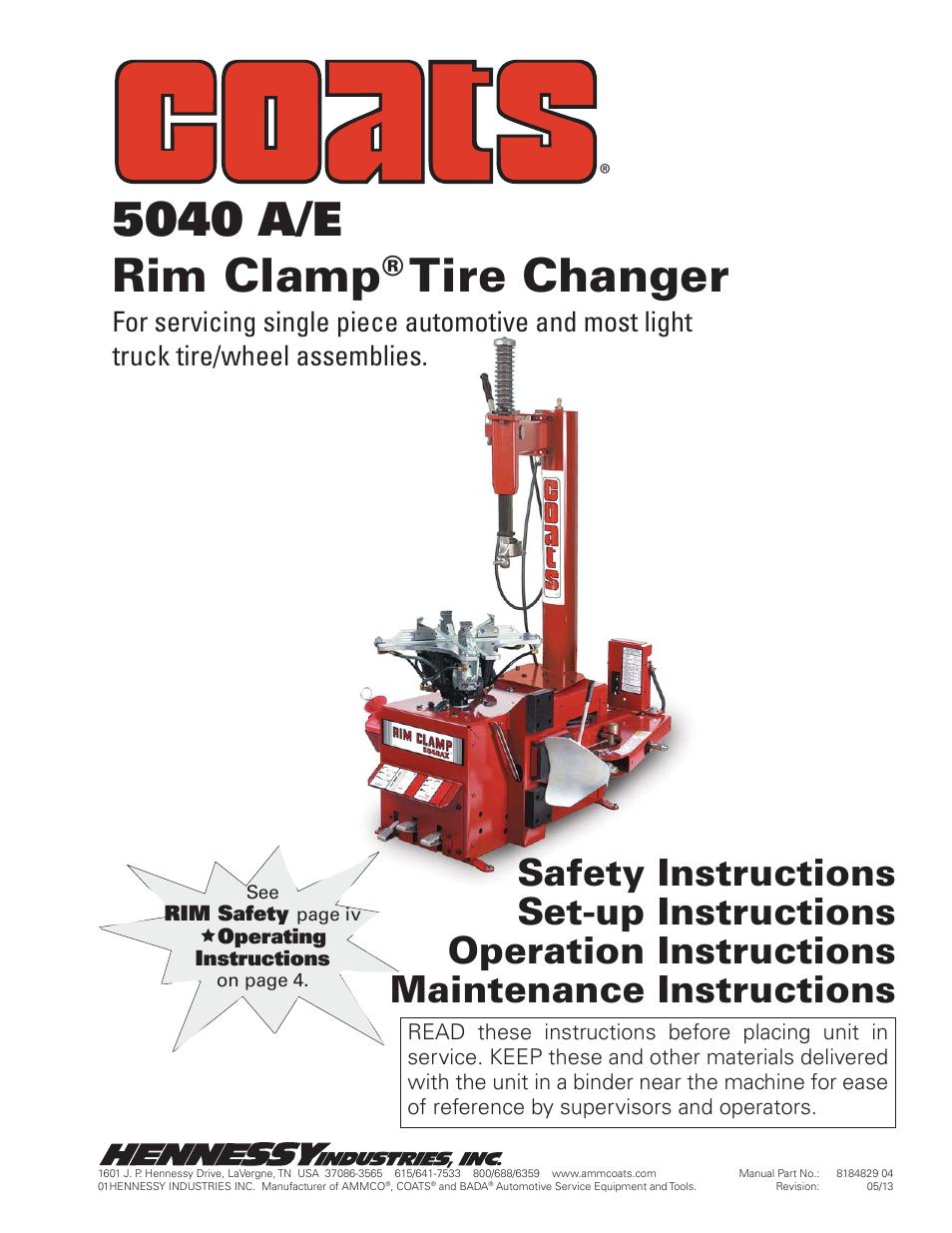coats 5040 a e tire changer user manual 28 pages rh manualsdir com Ammco Tools Inc Ammco Brake Tools