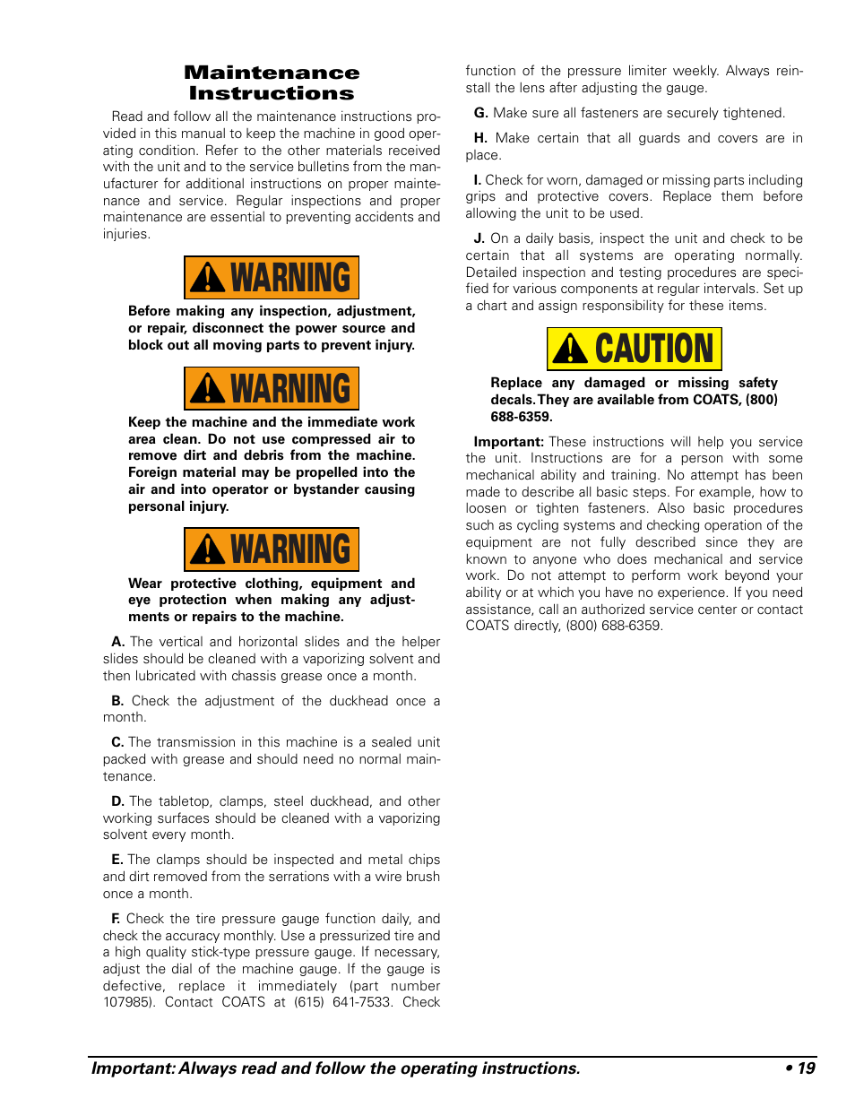 caution warning warning warning | coats 9024e tire changer user manual |  page 23 / 28
