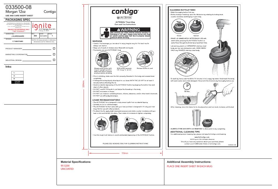 Contigo Autoseal 16 Oz Sheridan Insulated Travel Mug User Manual
