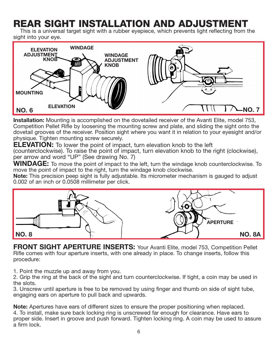 Rear sight installation and adjustment, Elevation, Windage | Daisy