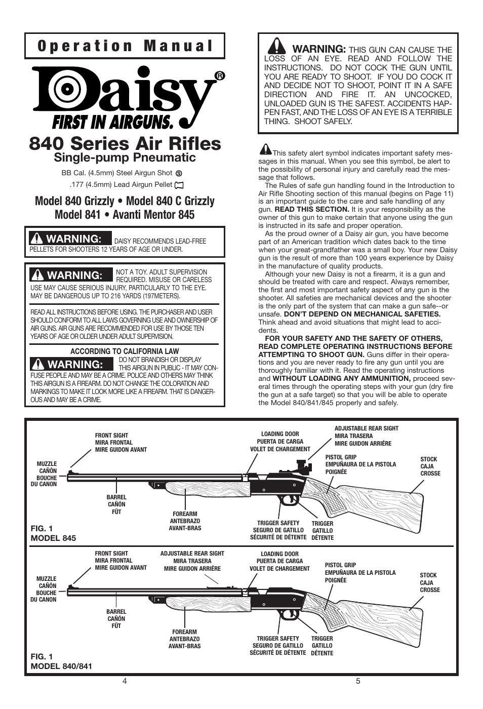 Daisy Air Rifle Parts Manuals
