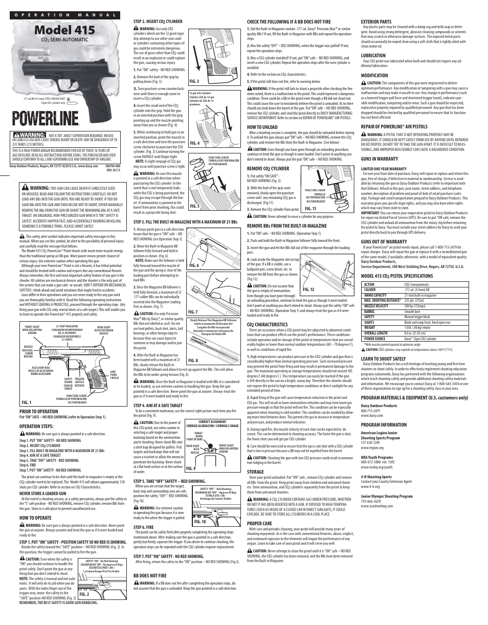 Bb Gun Manual Crosman Mark 1 2 Co2 Pellet 1911 Moreover Beretta 92 Parts Diagram Desert Eagle Daisy Powerline 415 Pistol User Pages Also For