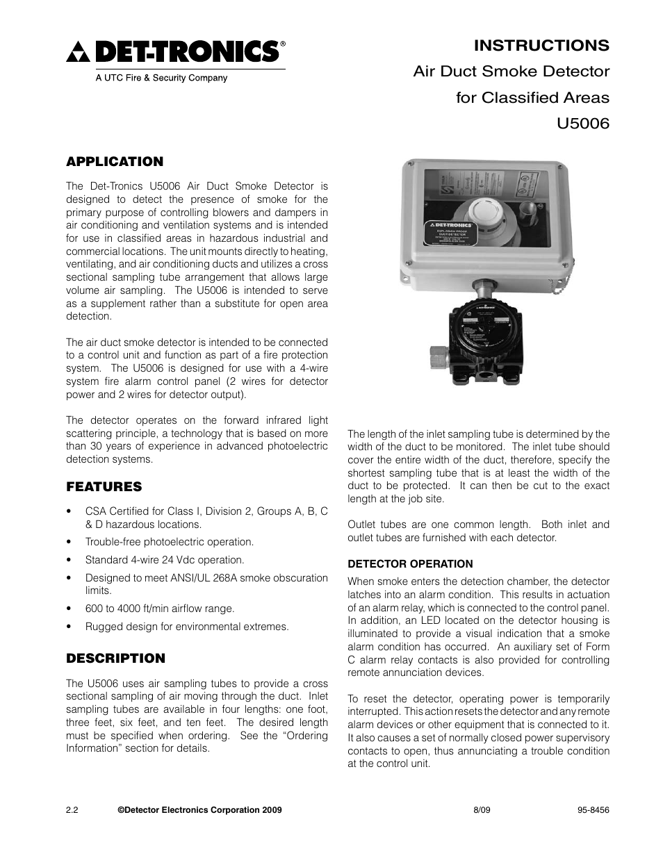 DetTronics U5006 Air    Duct       Smoke       Detector    User Manual   8