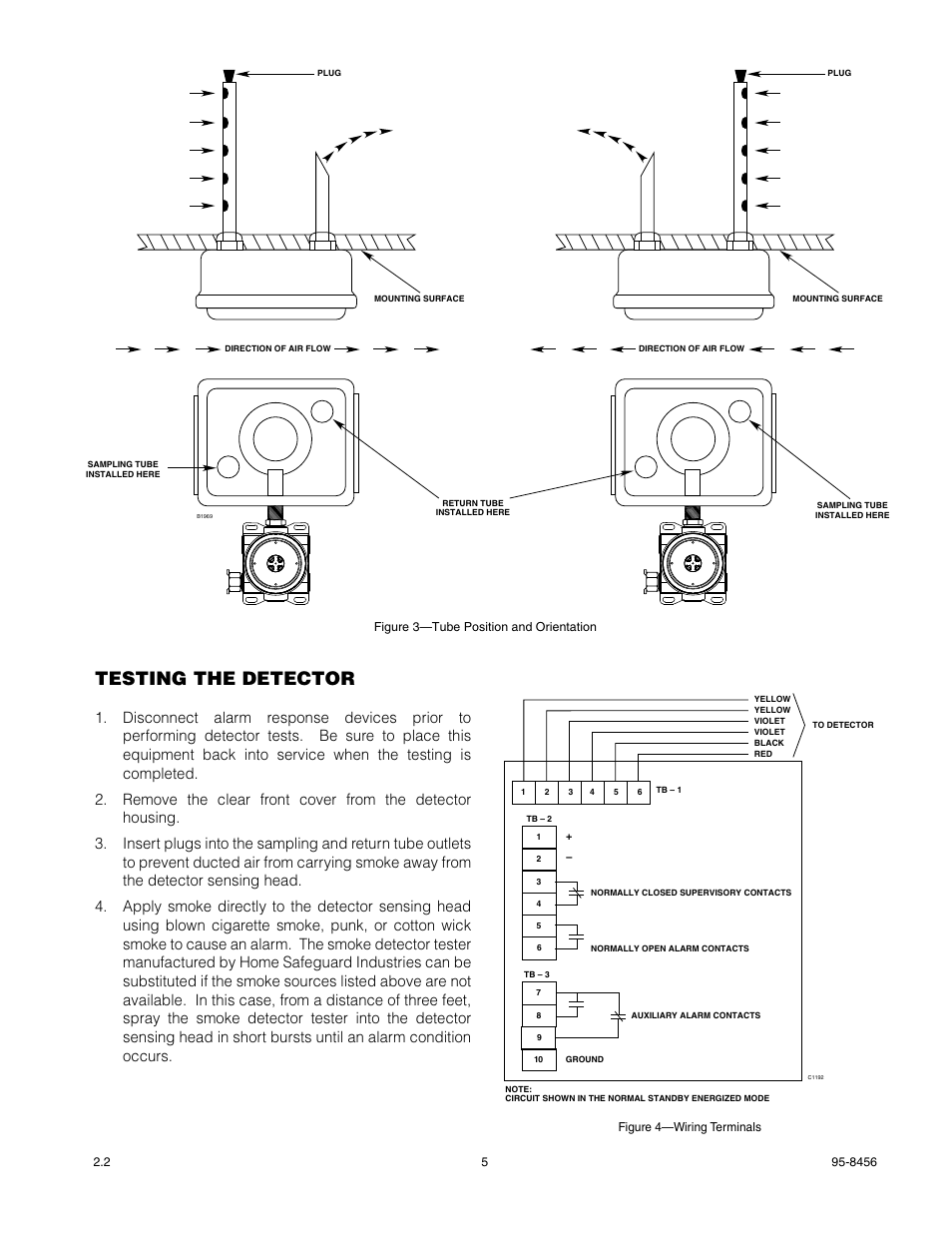 det tronics u5006 air duct smoke detector page5 testing the detector det tronics u5006 air duct smoke detector duct smoke detector wiring diagram at virtualis.co
