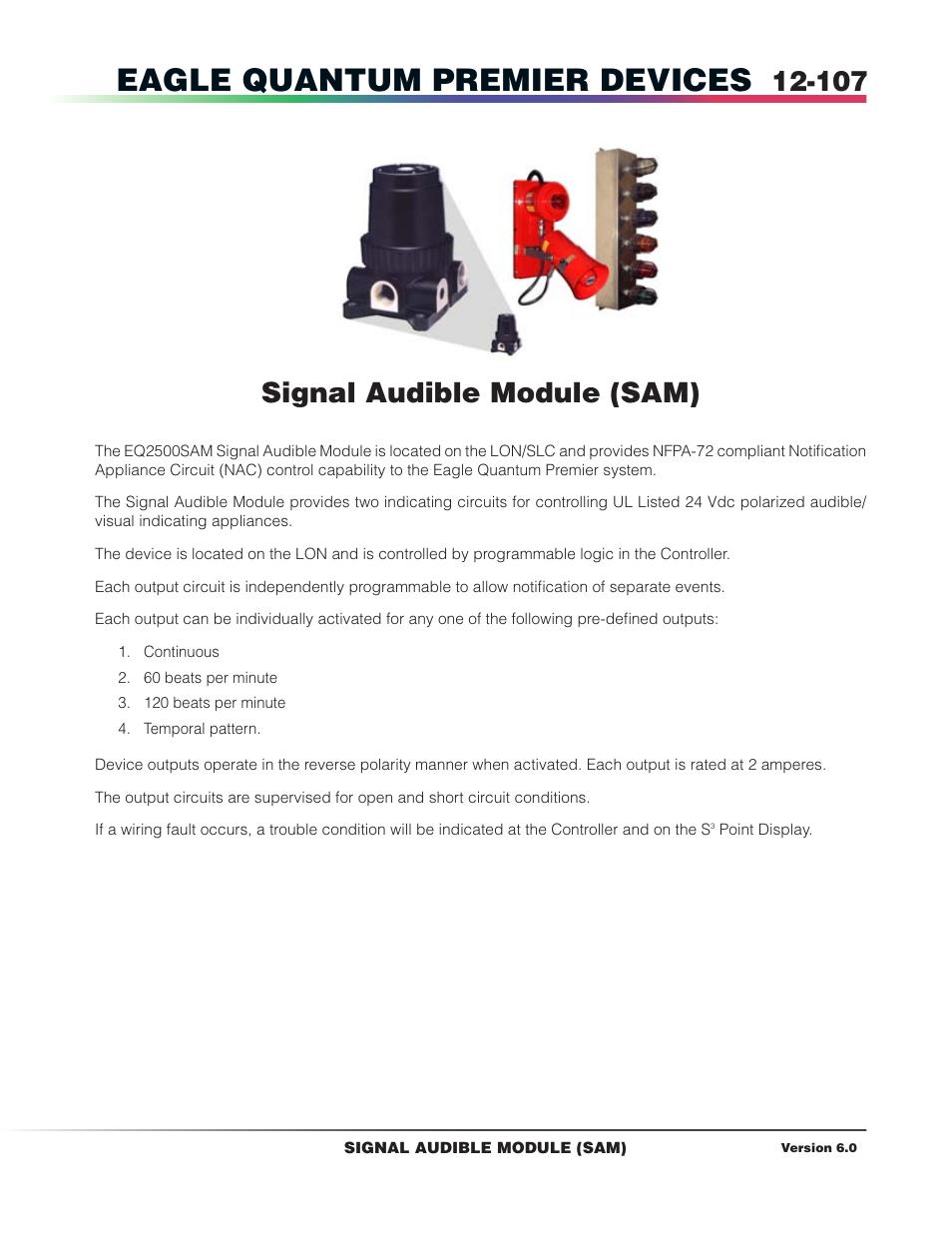 signal audible module sam eagle quantum premier devices det