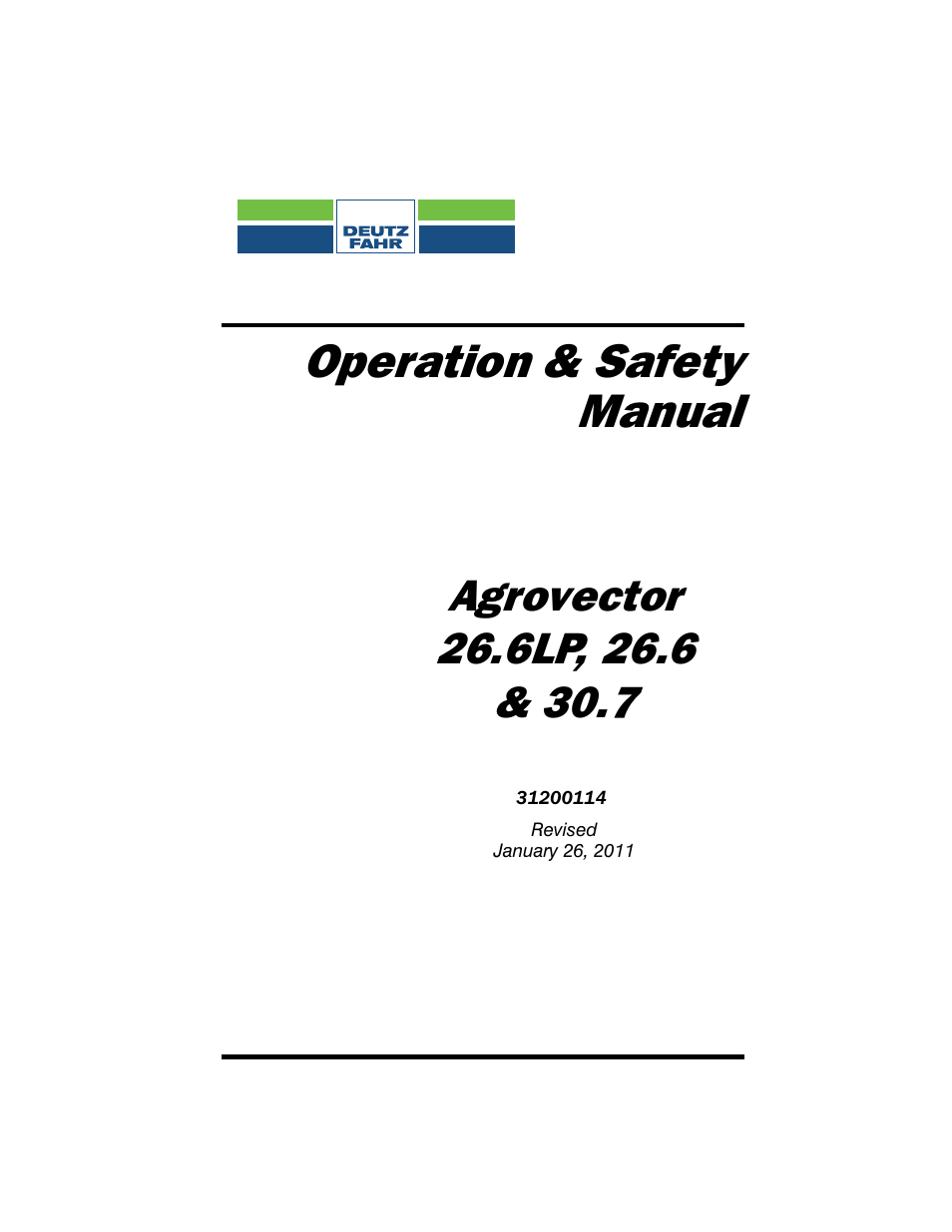 Deutz-Fahr Agrovector 30.7 User Manual | 138 pages | Also for: Agrovector  26.6, Agrovector 26.6LP