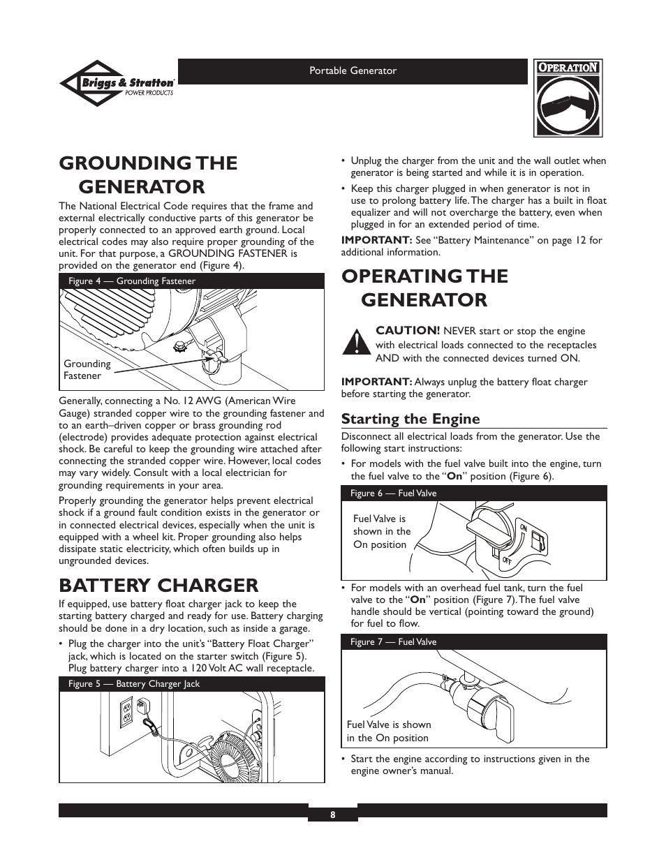 Grounding the generator, Battery charger, Operating the generator