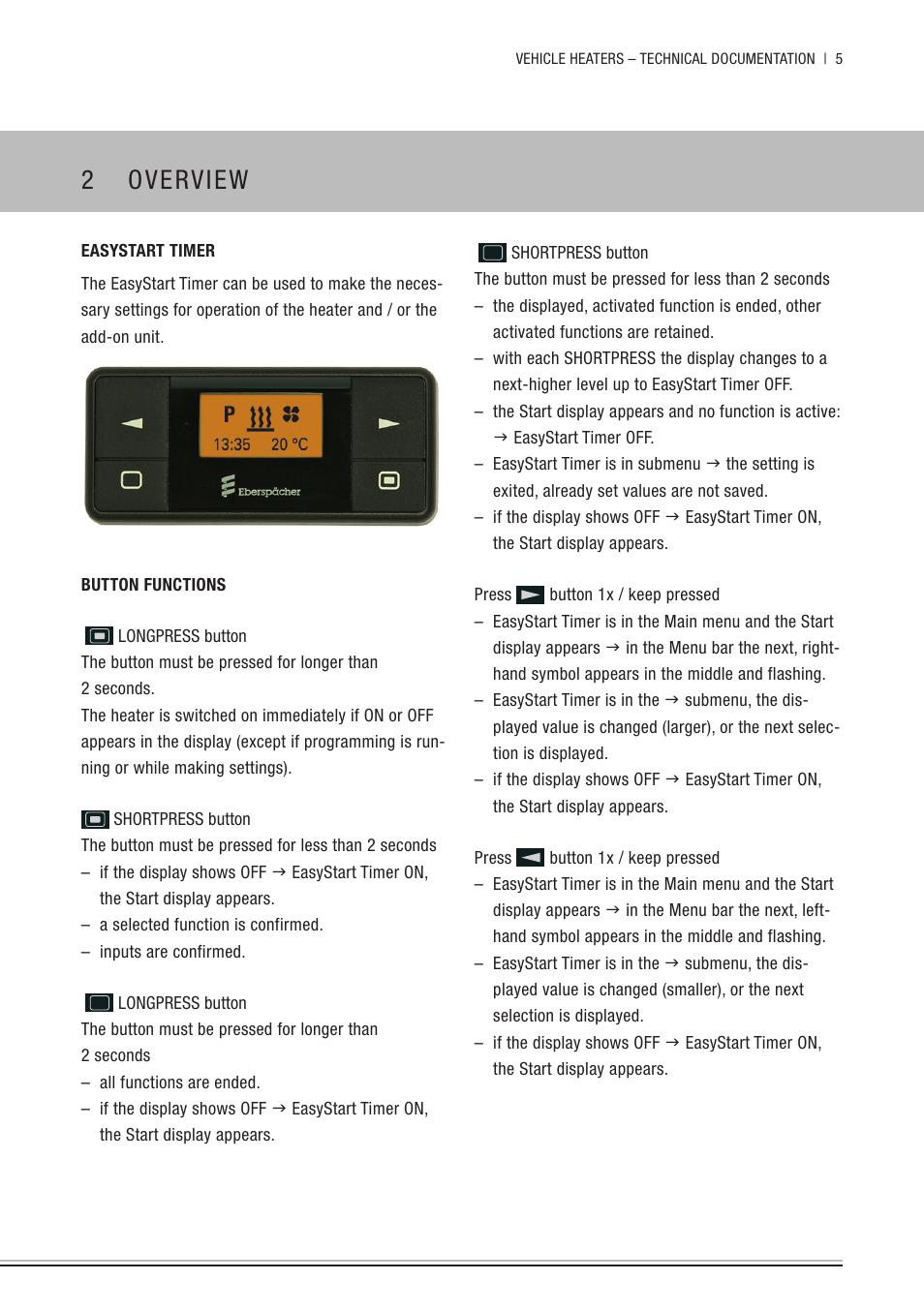 Eberspacher timer instructions