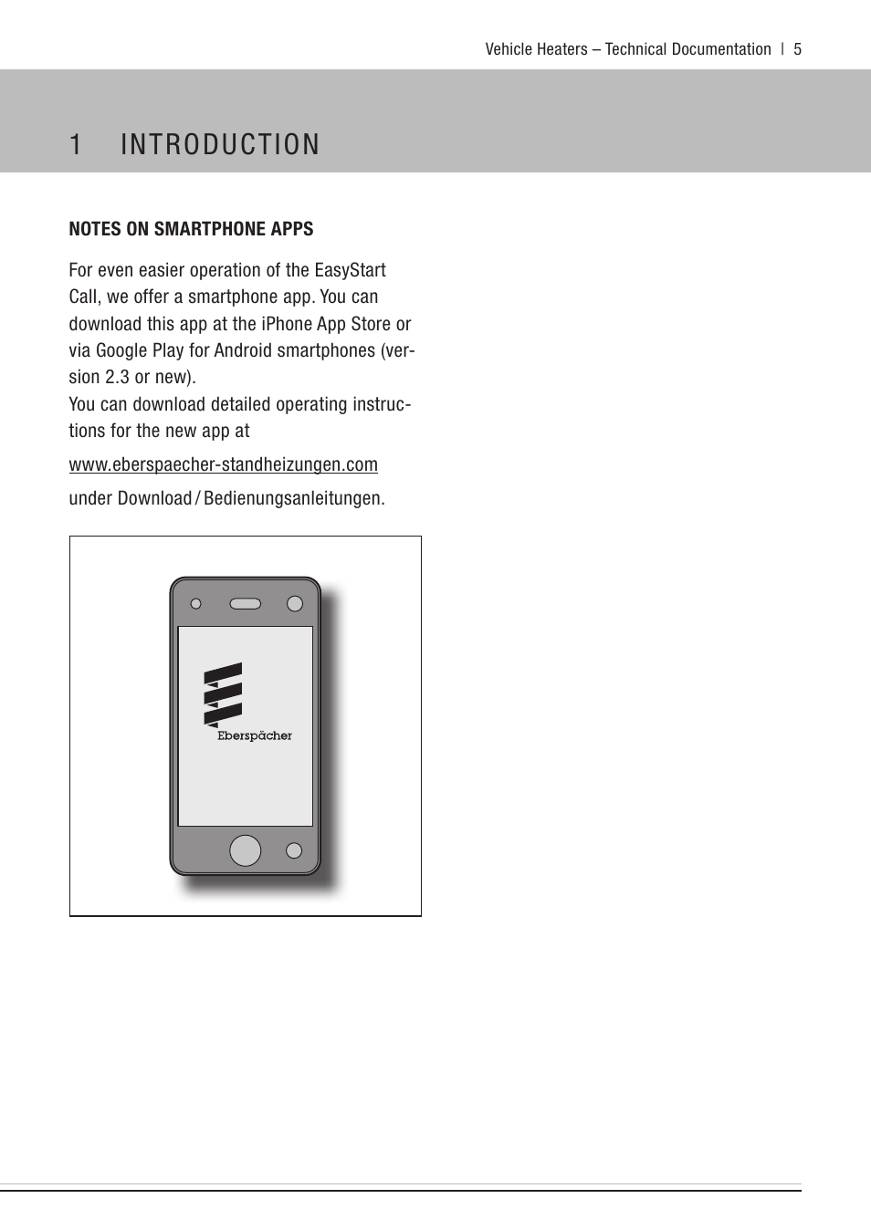 Notes on smartphone apps, 1 introduction | Eberspacher
