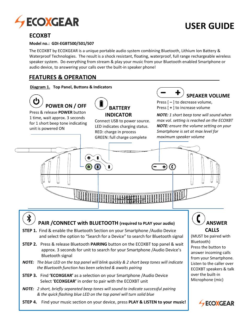 ECOXGEAR EGBT500-501-507: ECOXBT User Manual | 4 pages
