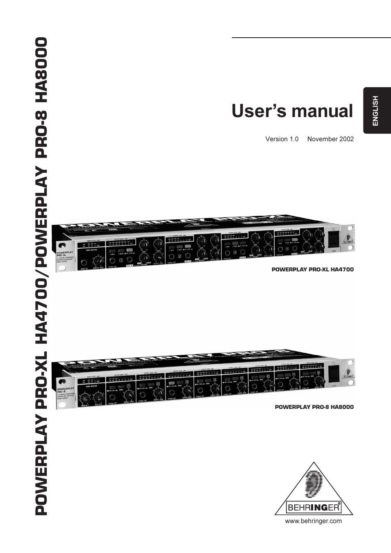 behringer ha4700 user manual 9 pages also for ha8000 rh manualsdir com Behringer Saw Part Manuals Behringer BX600
