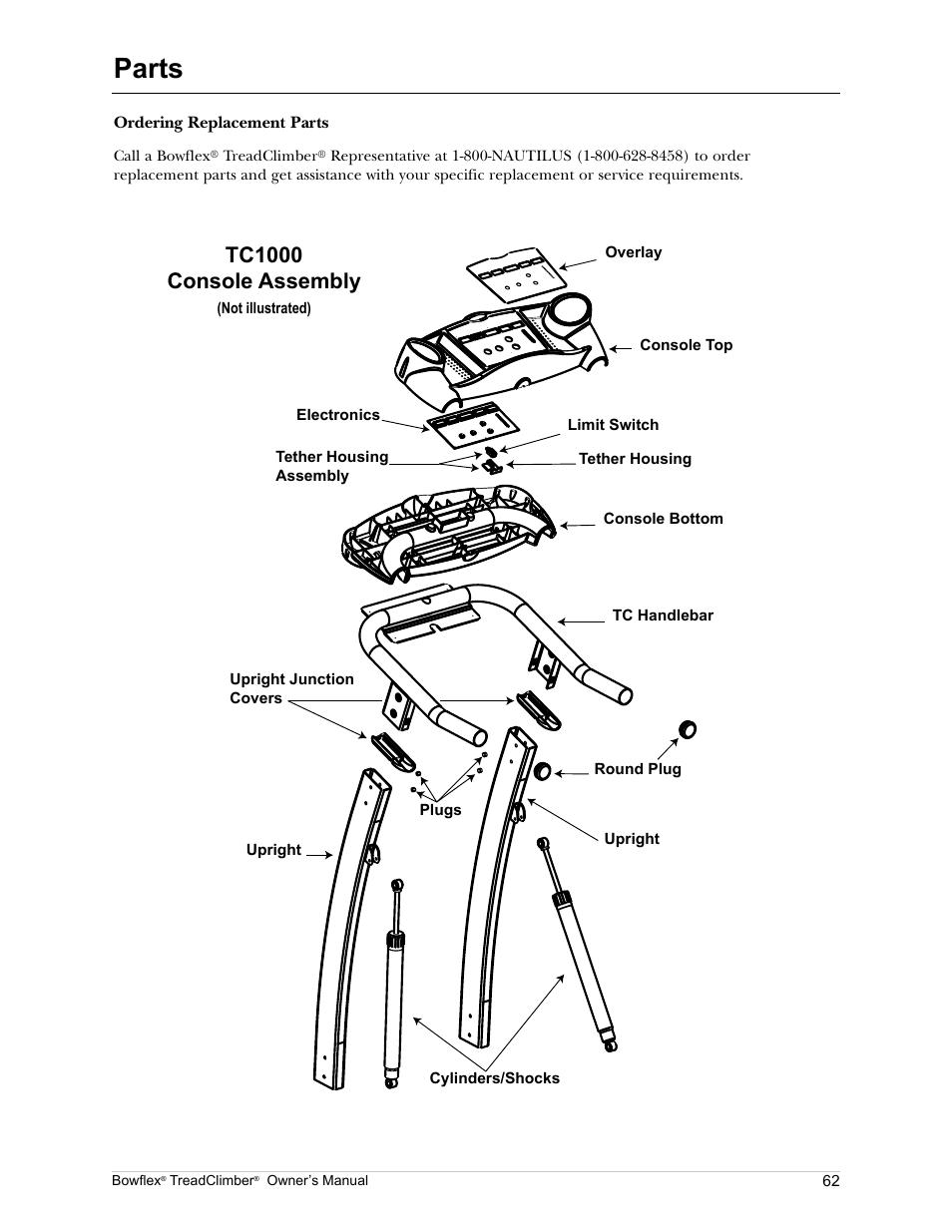 Parts Tc1000 Console Embly Bowflex Treadclimber Tc5000 User Manual Page 65 69