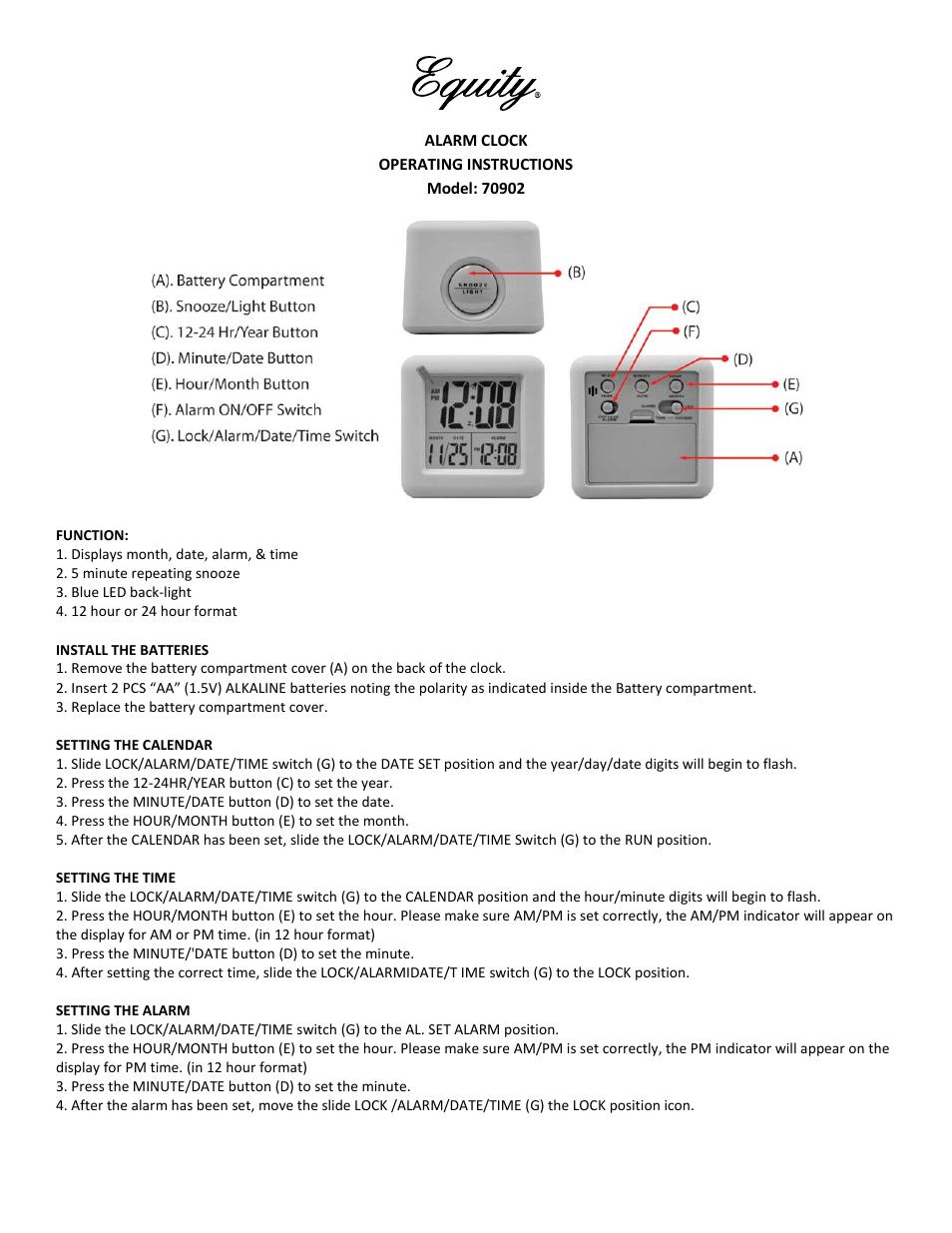 Equity by La Crosse 70902 Soft Cube LCD Alarm Clock User Manual | 2 pages |  Also for: 70910 Soft Cube LCD Alarm Clock, 70911 Soft Cube LCD Alarm Clock,  ...