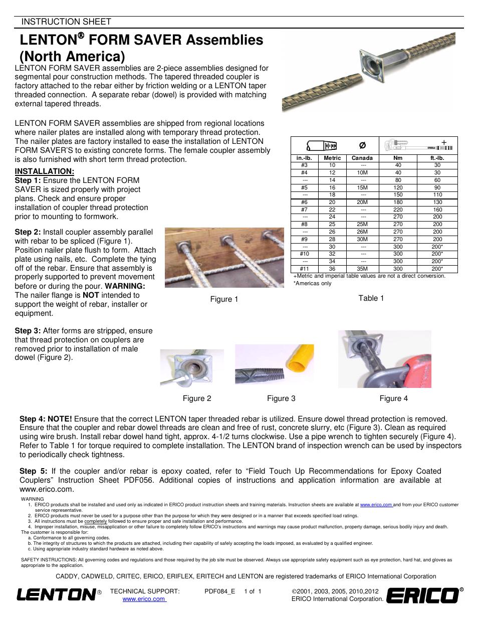 ERICO LENTON FORM SAVER Assemblies User Manual | 1 page