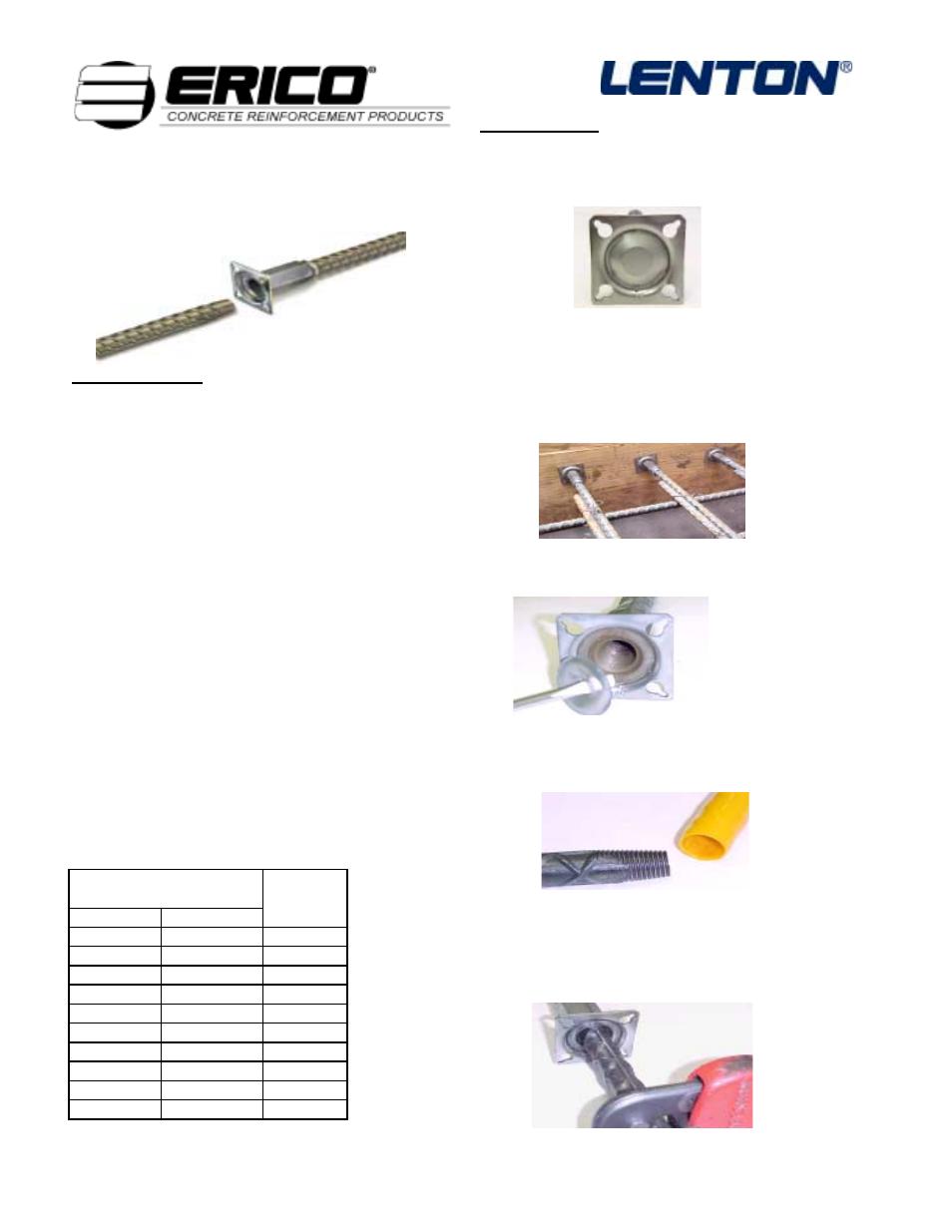 ERICO LENTON FORM SAVERS User Manual | 1 page