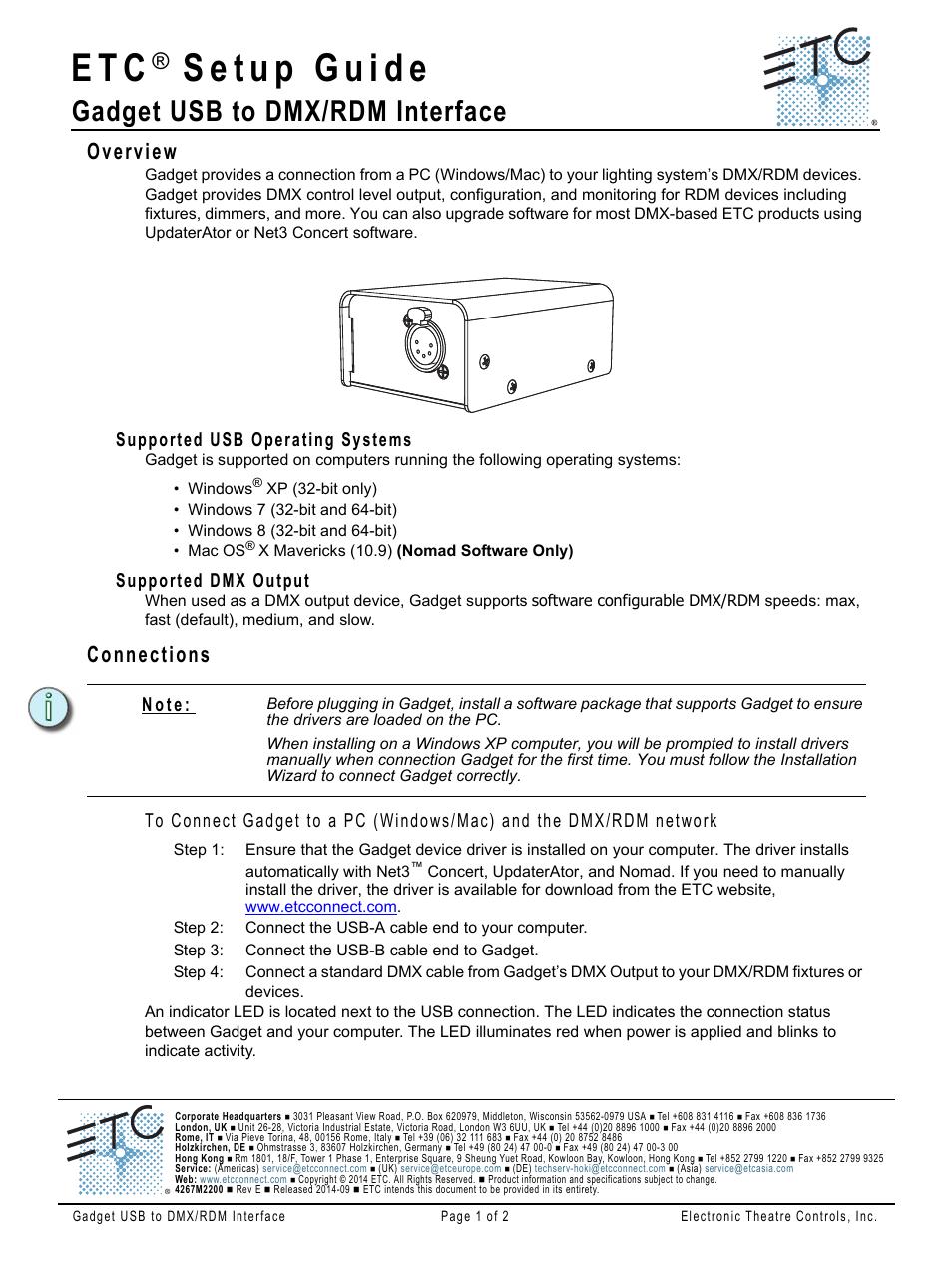ETC Gadget USB to DMX Interface Setup Guide (Rev E) User Manual | 2