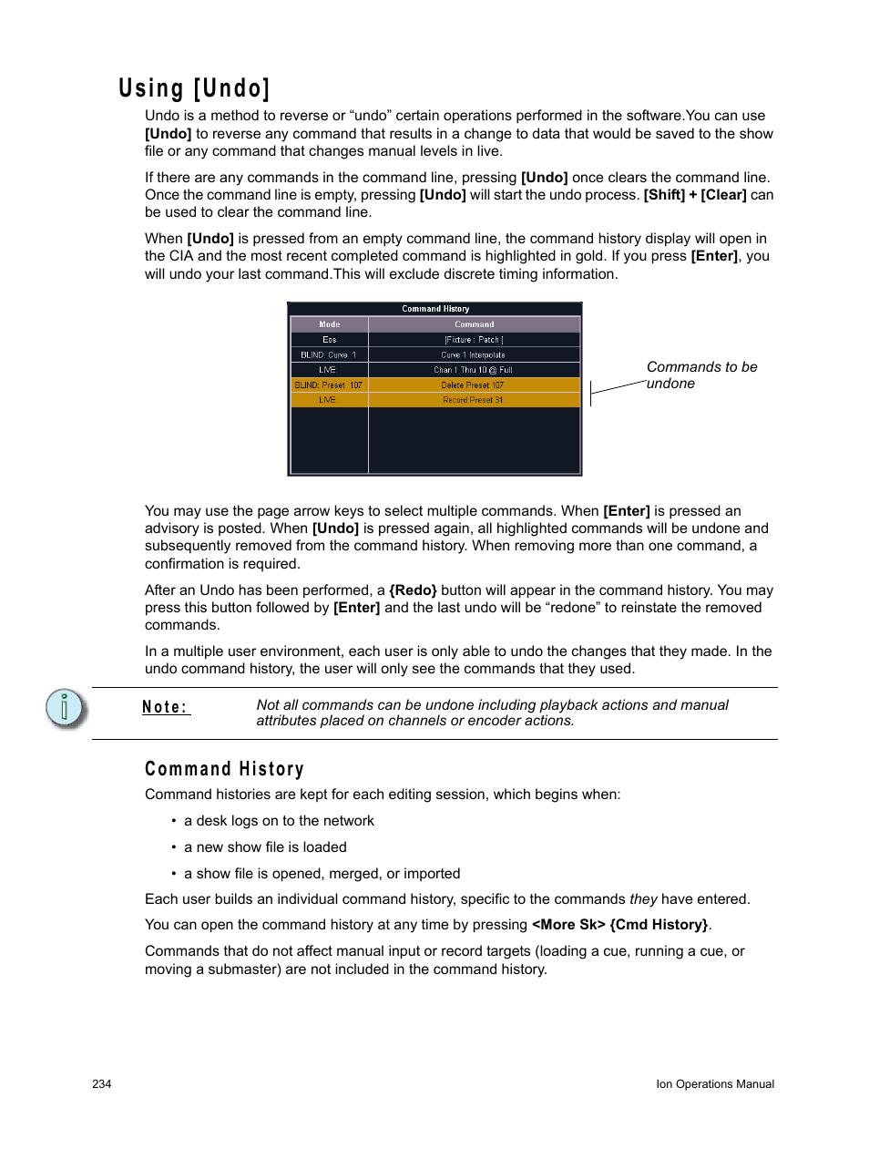 using undo command history etc ion user manual page 250 440 rh manualsdir com etc revolution user manual etc eos user manual