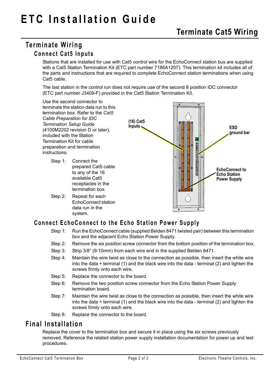 terminate wiring, connect cat5 inputs, final installation | terminate cat5  wiring | etc echoconnect