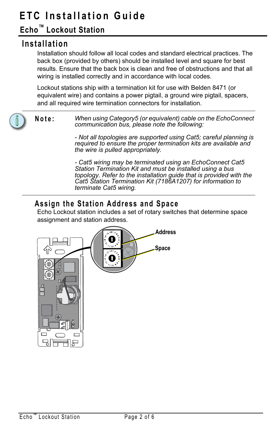 Installation Assign The Station Address And Space Echo Etc How To Terminate Cat5 Lockout User Manual Page 2 6