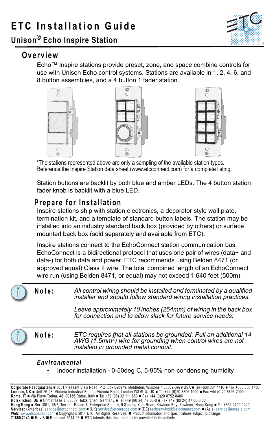 Etc Echo Inspire Station User Manual 8 Pages Zone Wiring Box
