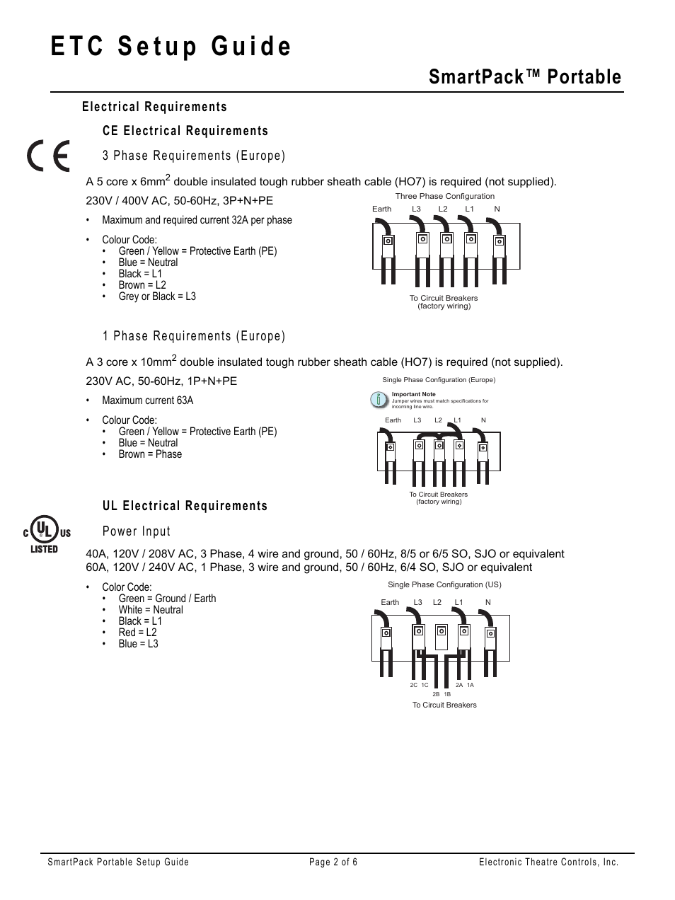 Electrical requirements, Ce electrical requirements, 3 phase ...