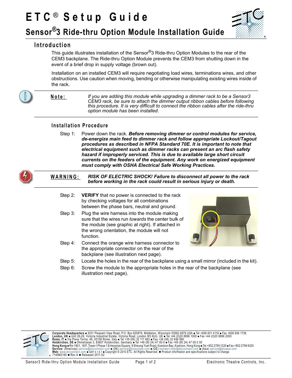 ETC Sensor3 RideThru Option Module User Manual | 2 pages