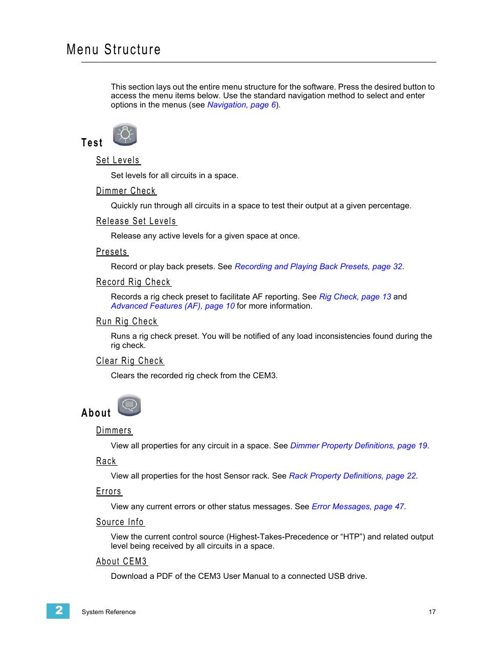 Menu structure, Test, Set levels | ETC CEM3 v1 5 1 User Manual