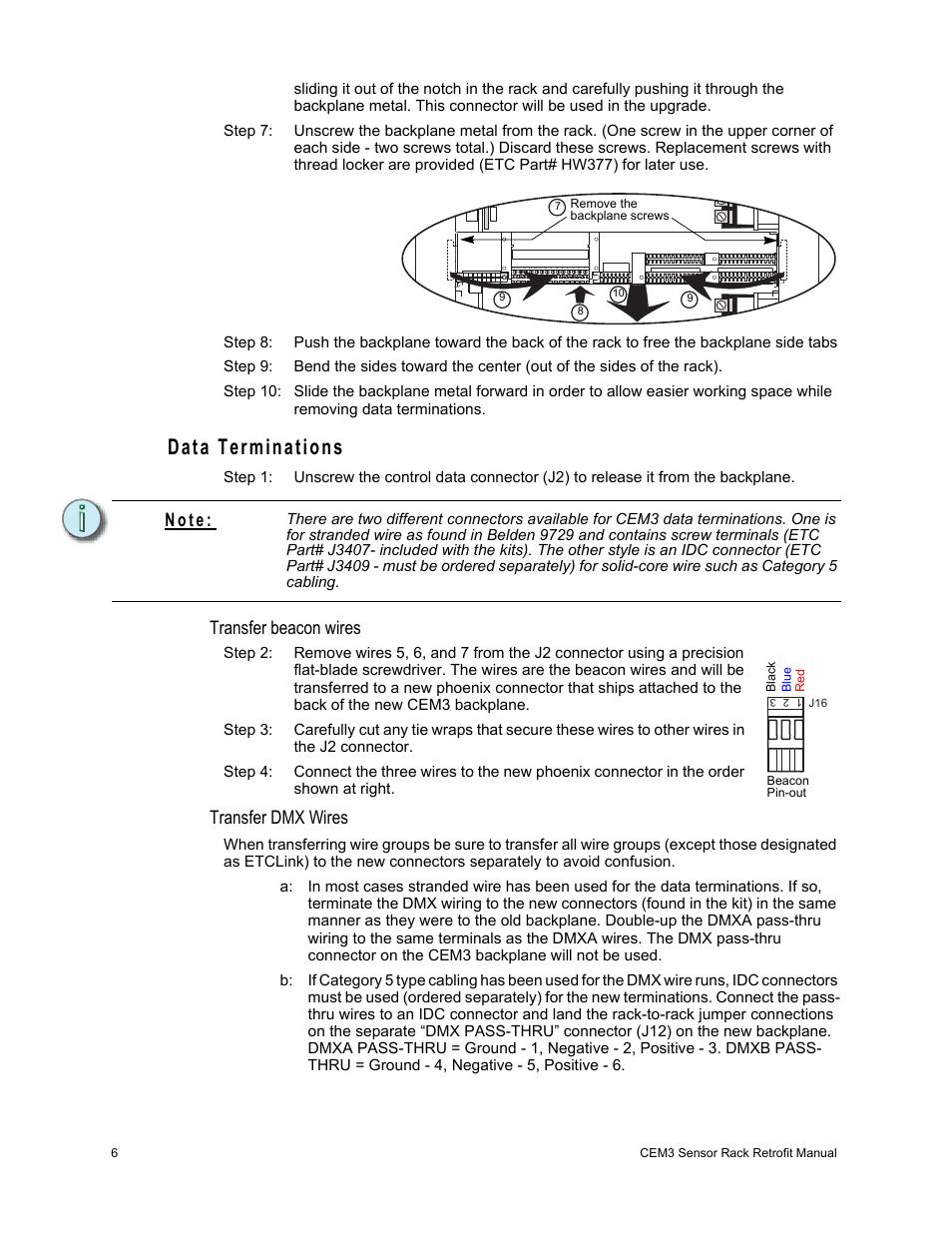 Data Terminations Transfer Beacon Wires Dmx Etc Center Rack Wiring Diagram N O T E Sensor