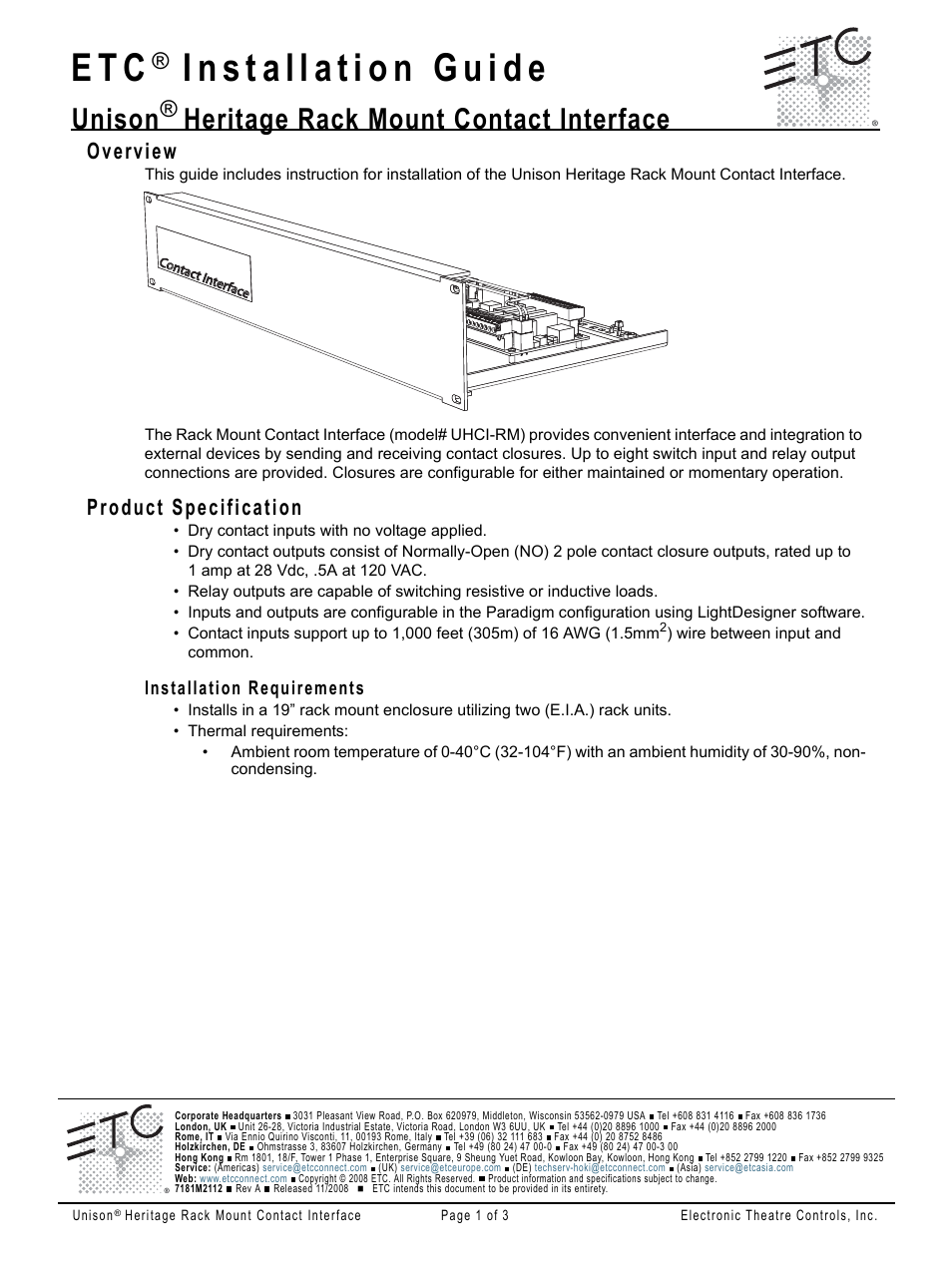 Etc Unison Heritage Rackmount Contact Interface User Manual 3 Pages How To Switch Highly Inductive Loads Using Digital I O Manuals