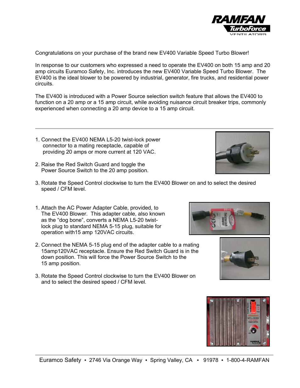Euramco Safety Ev400 User Manual 1 Page 3 Way Switch Both Down