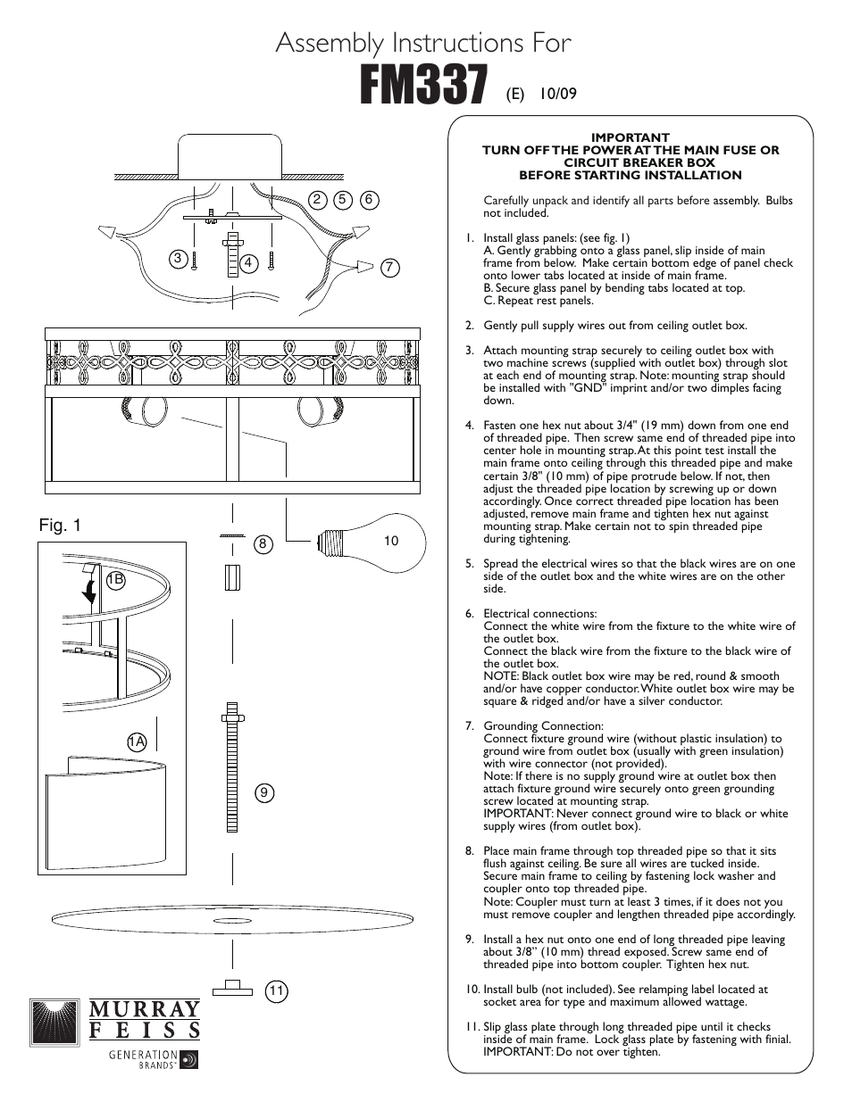 Feiss Fm337 User Manual 1 Page An Electrical Copper Wire With Pipe And White Background