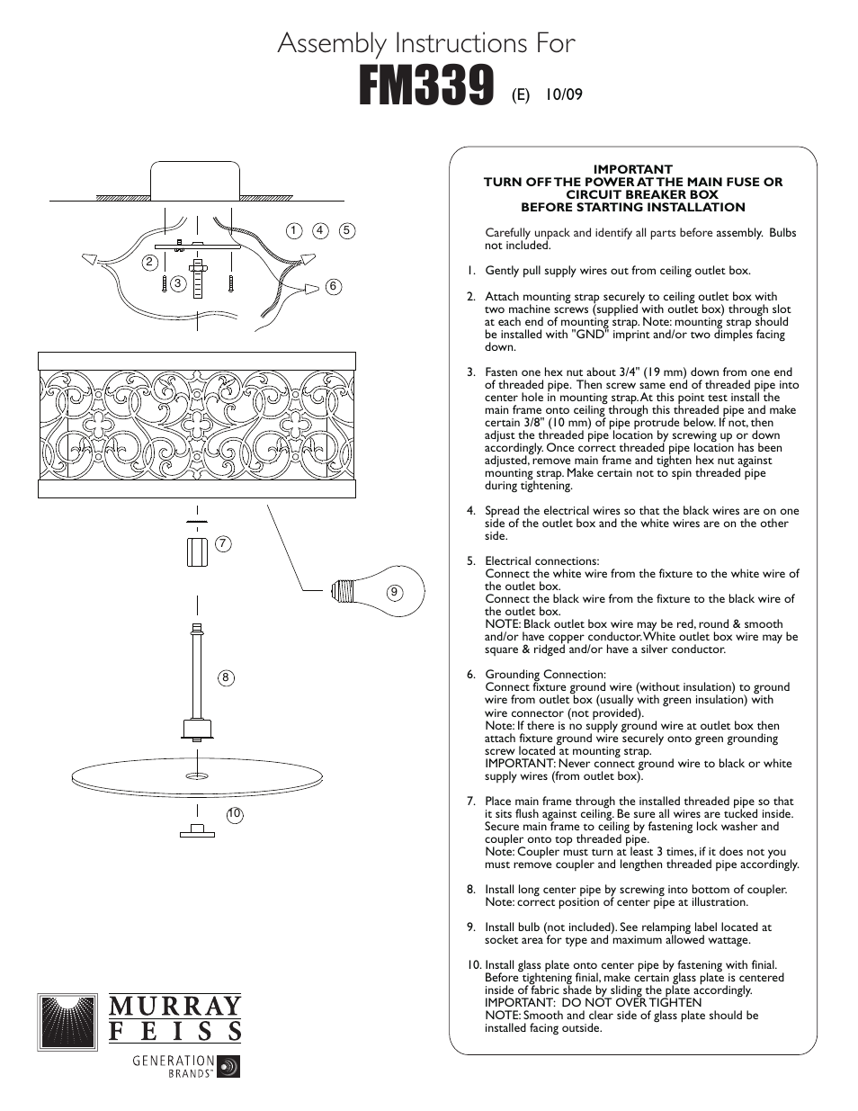 Feiss FM339 User Manual | 1 page