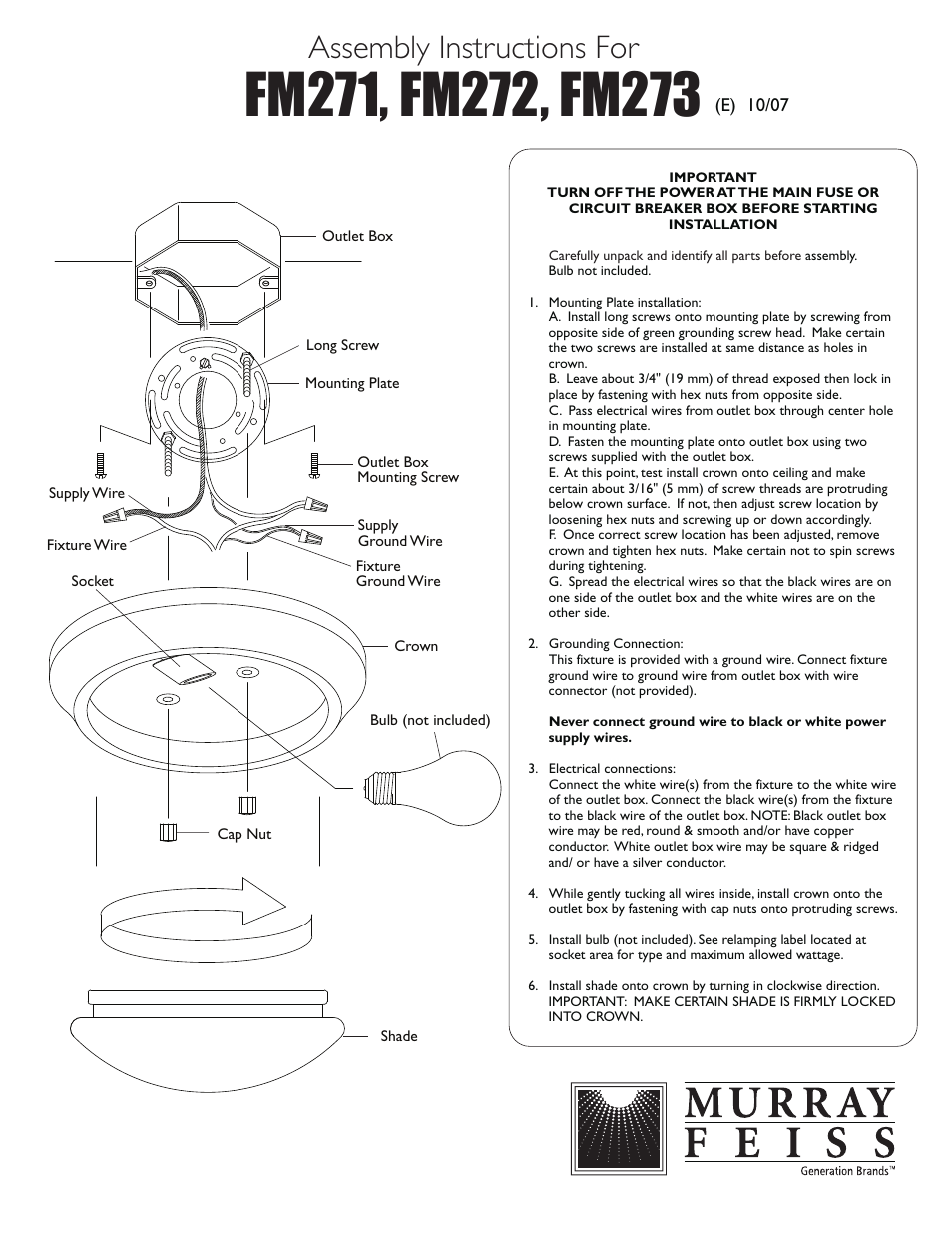 Feiss Fm273 User Manual 1 Page Also For Fm272 Fm271 6 Wire Outlet Diagram