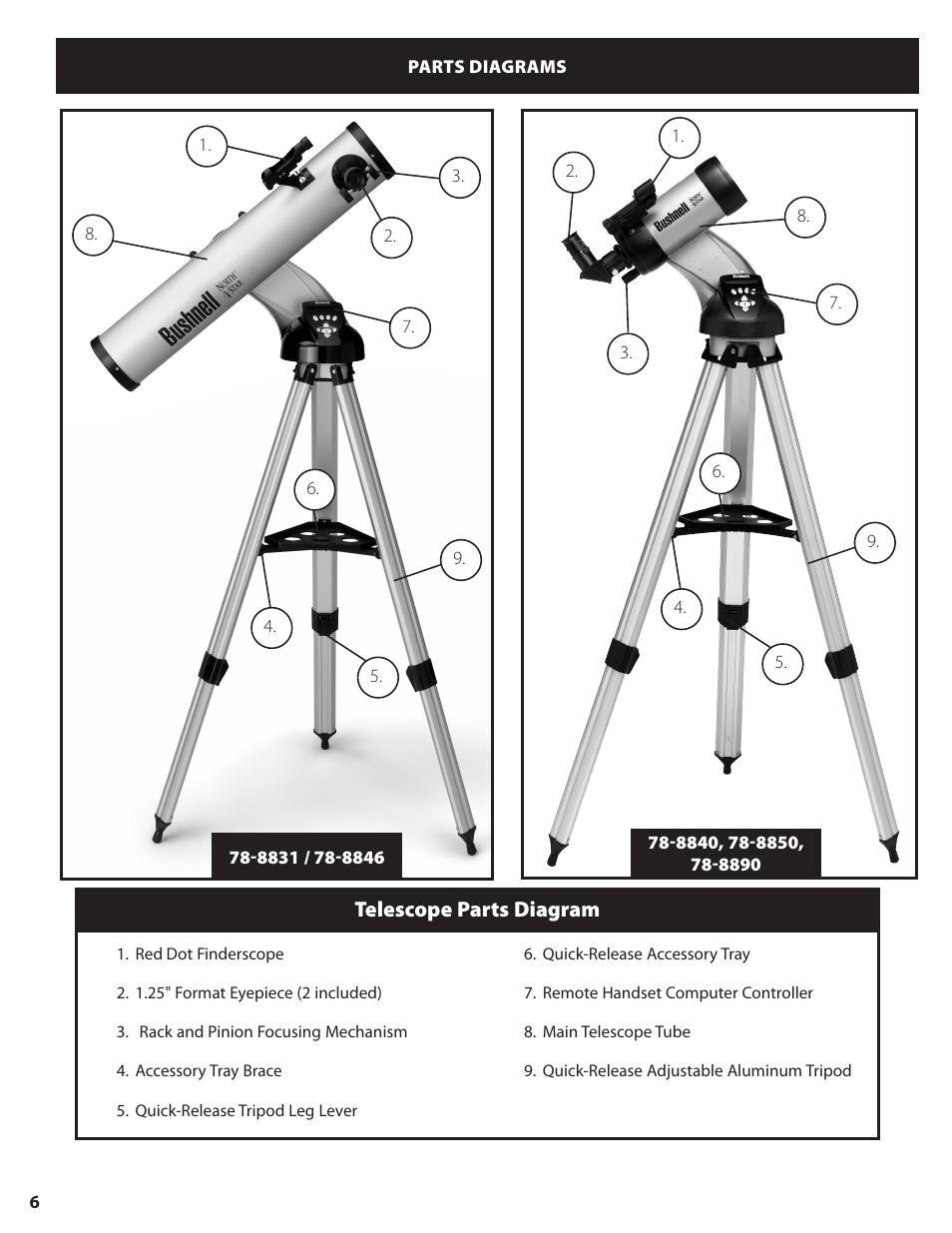 Telescope parts diagram | Bushnell NORTH STAR GOTO 78-8840