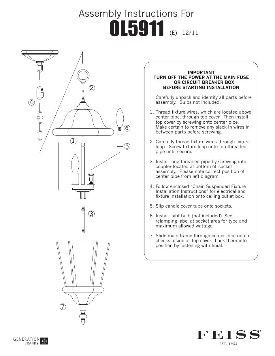 Feiss Ol5911 User Manual 1 Page Wiring Light Loop Diagram