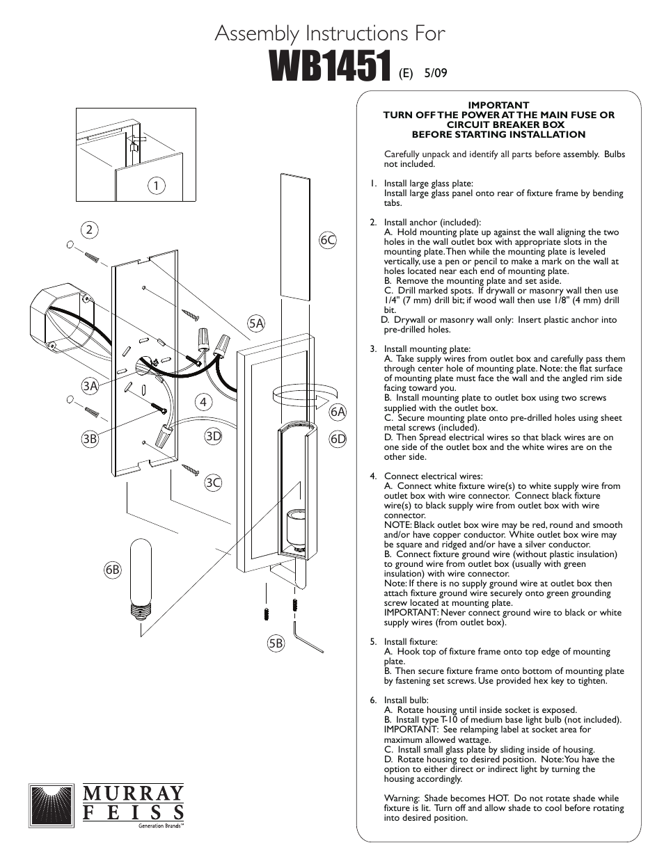 Feiss Wb1451 User Manual 1 Page Murray Fuse Box Diagram 6