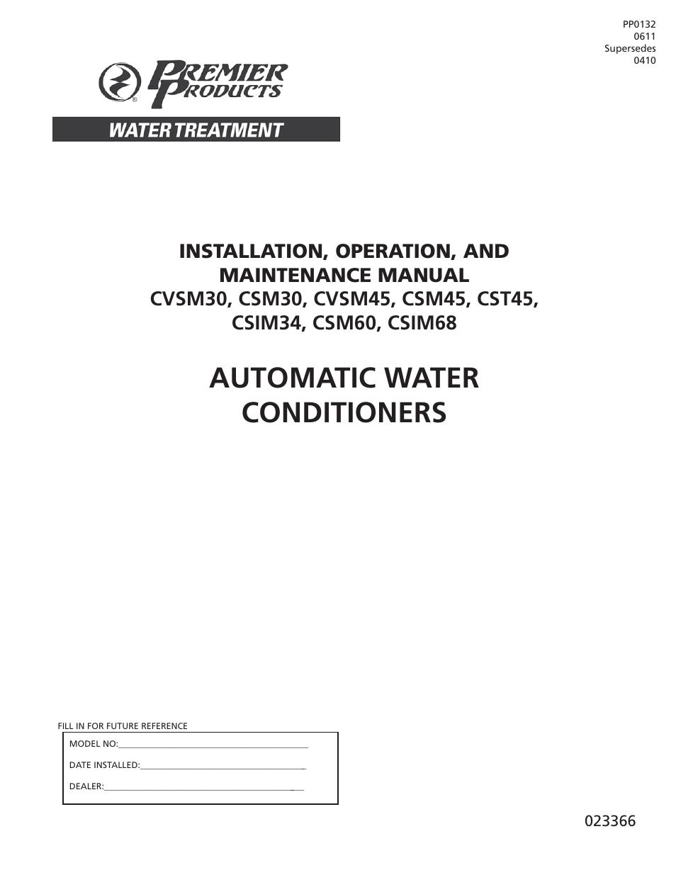 Flint Amp Walling Csm Cvsm Two Tank Water Softeners User