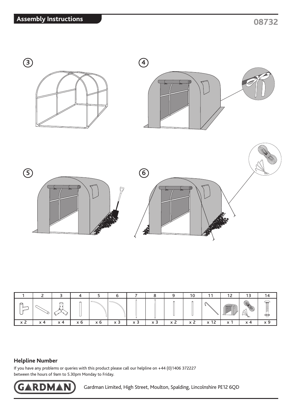 Assembly Instructions Gardman Polytunnel User Manual Page 2 2