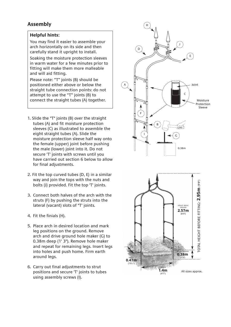 Assembly, Helpful hints | Gardman Gothic Arch User Manual | Page 2